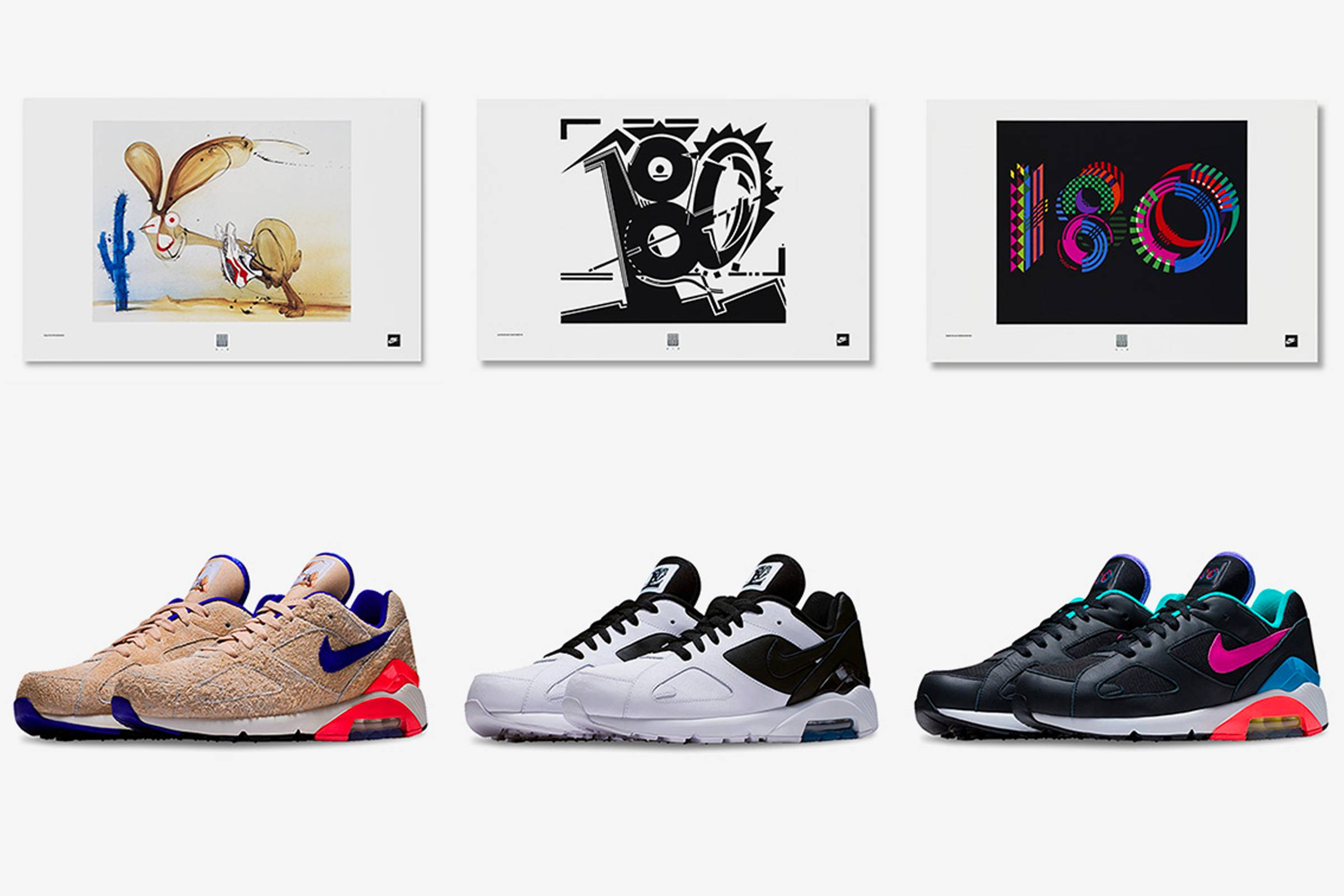 hot sale online 2ee0c 60de0 2018 Nike By You Air Max 180 releases inspired by ad artwork commissioned  by Nike during the 180 s original release. Artist inspiration from left to  right  ...