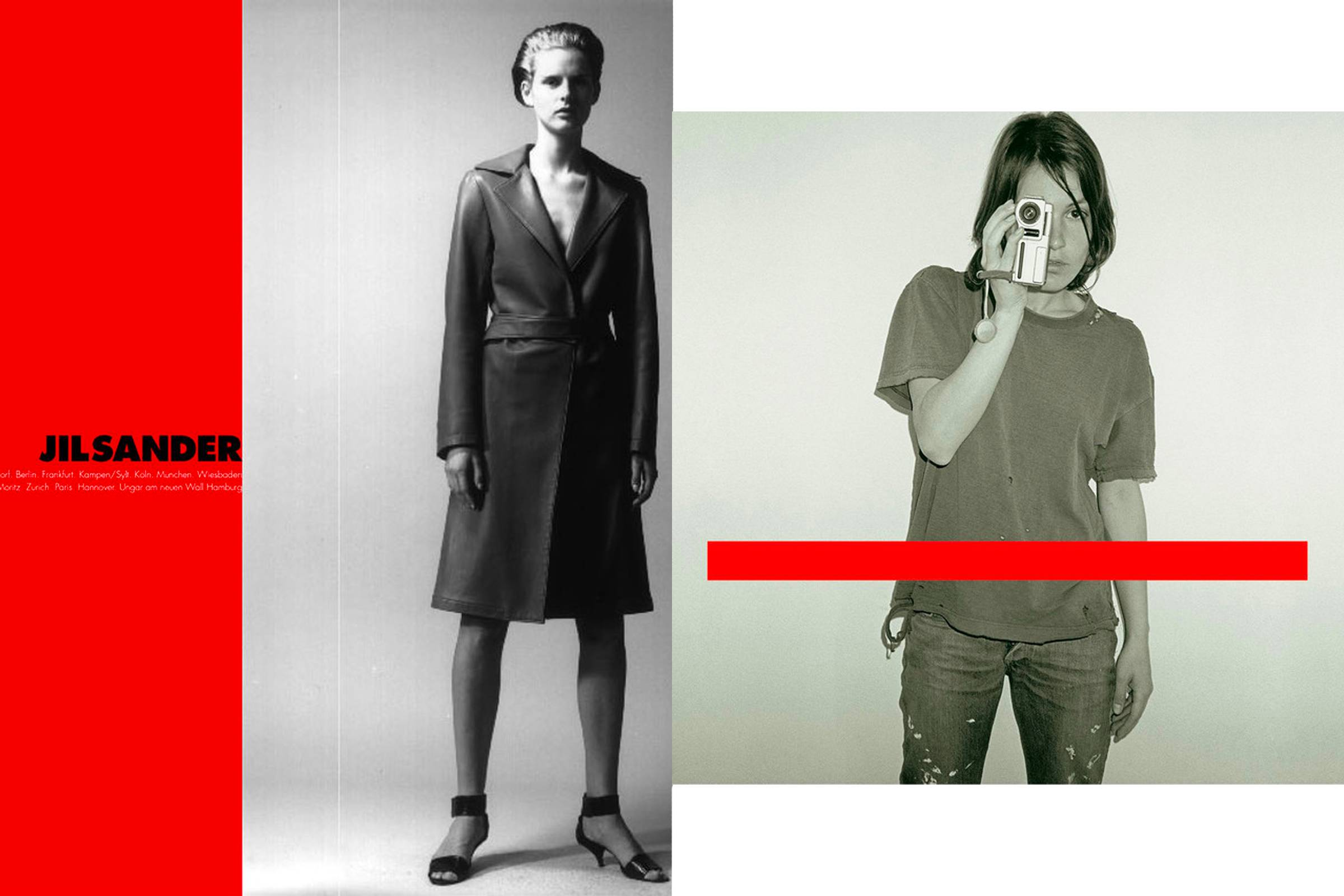 "A Jil Sander ad from 1990, designed by Peter Saville (left); ""Get Ready"" album cover (right)"