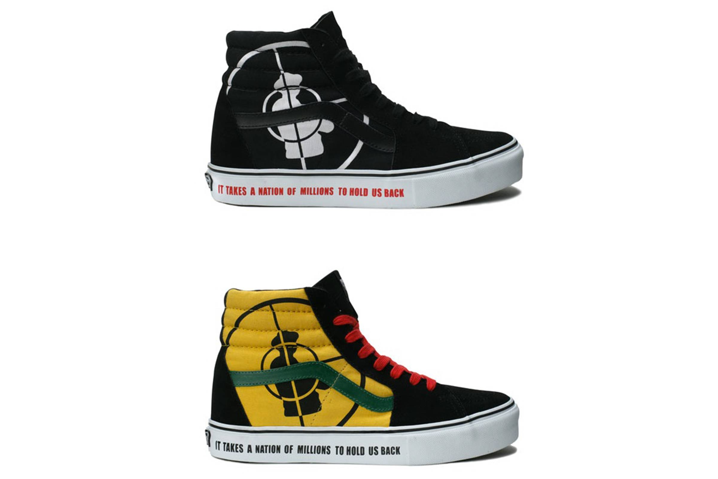 Supreme teamed up with iconic hip-hop group Public Enemy to release two  colorways of this Sk8-Hi in 2006. The design is based off Public Enemy s  classic ... 4b6ef98a9