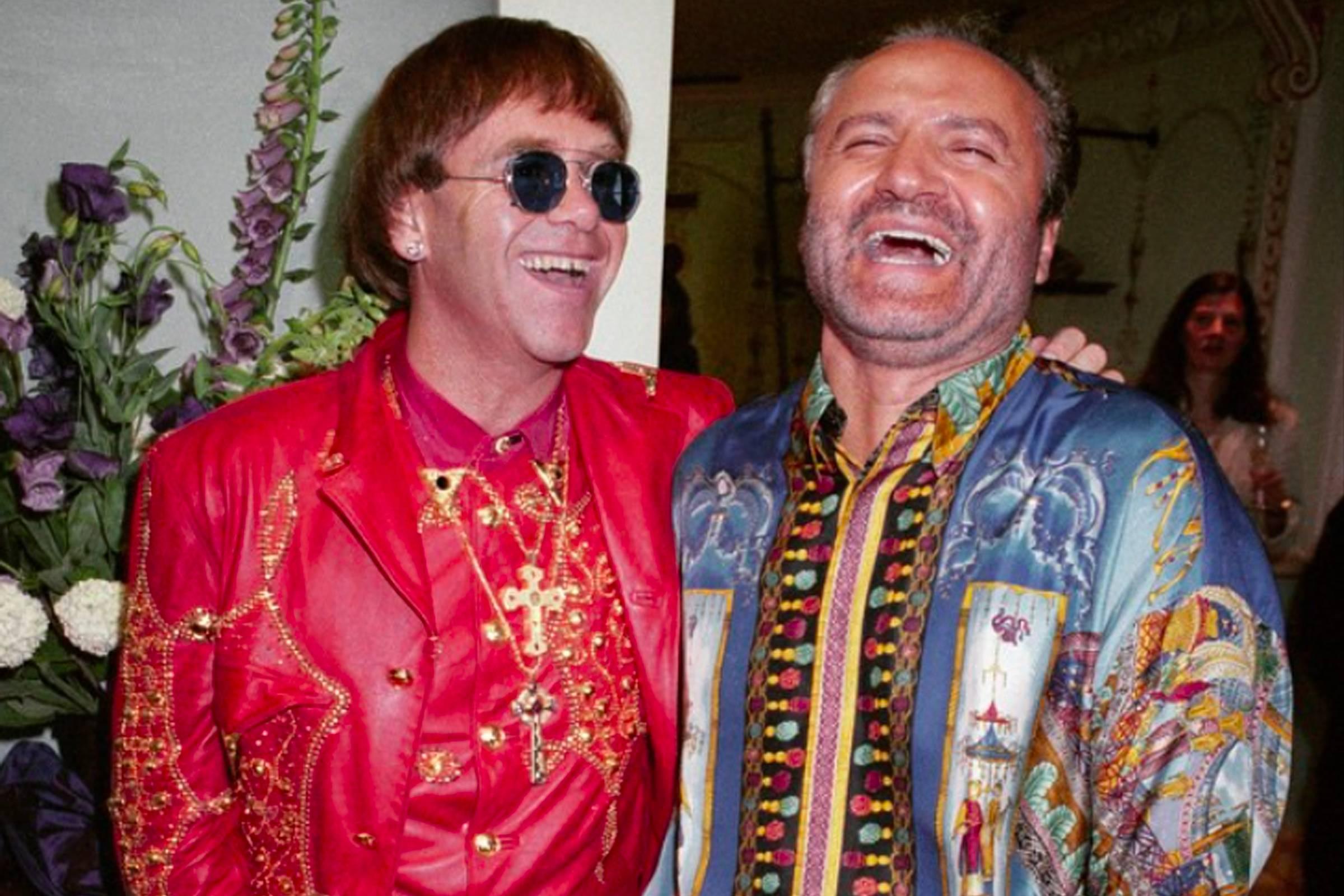 Elton John (left) with Gianni Versace, 1992