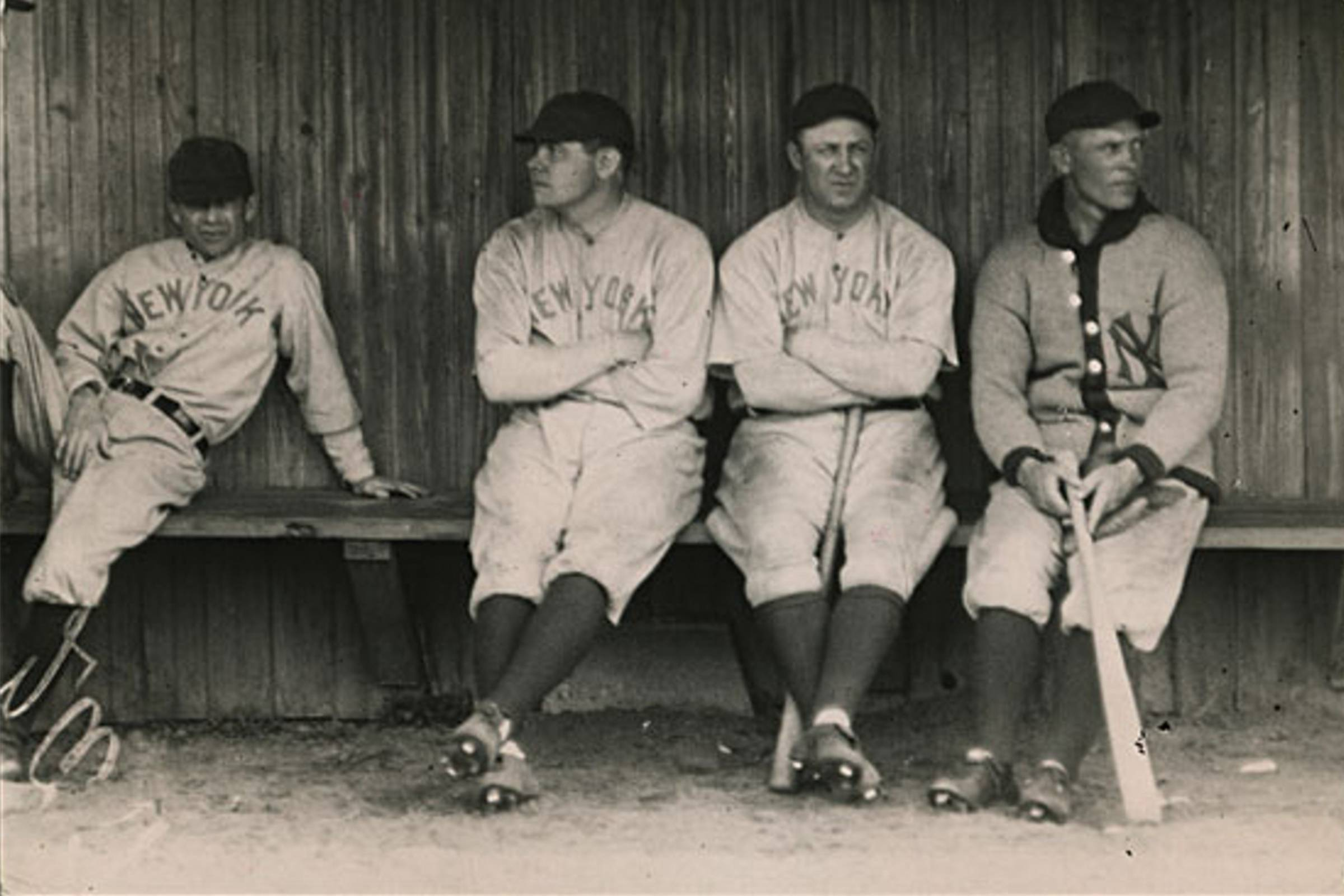 The 1920s New York Yankees uniforms featuring pinstripes, introduced to make Babe Ruth (far left) appear more slim