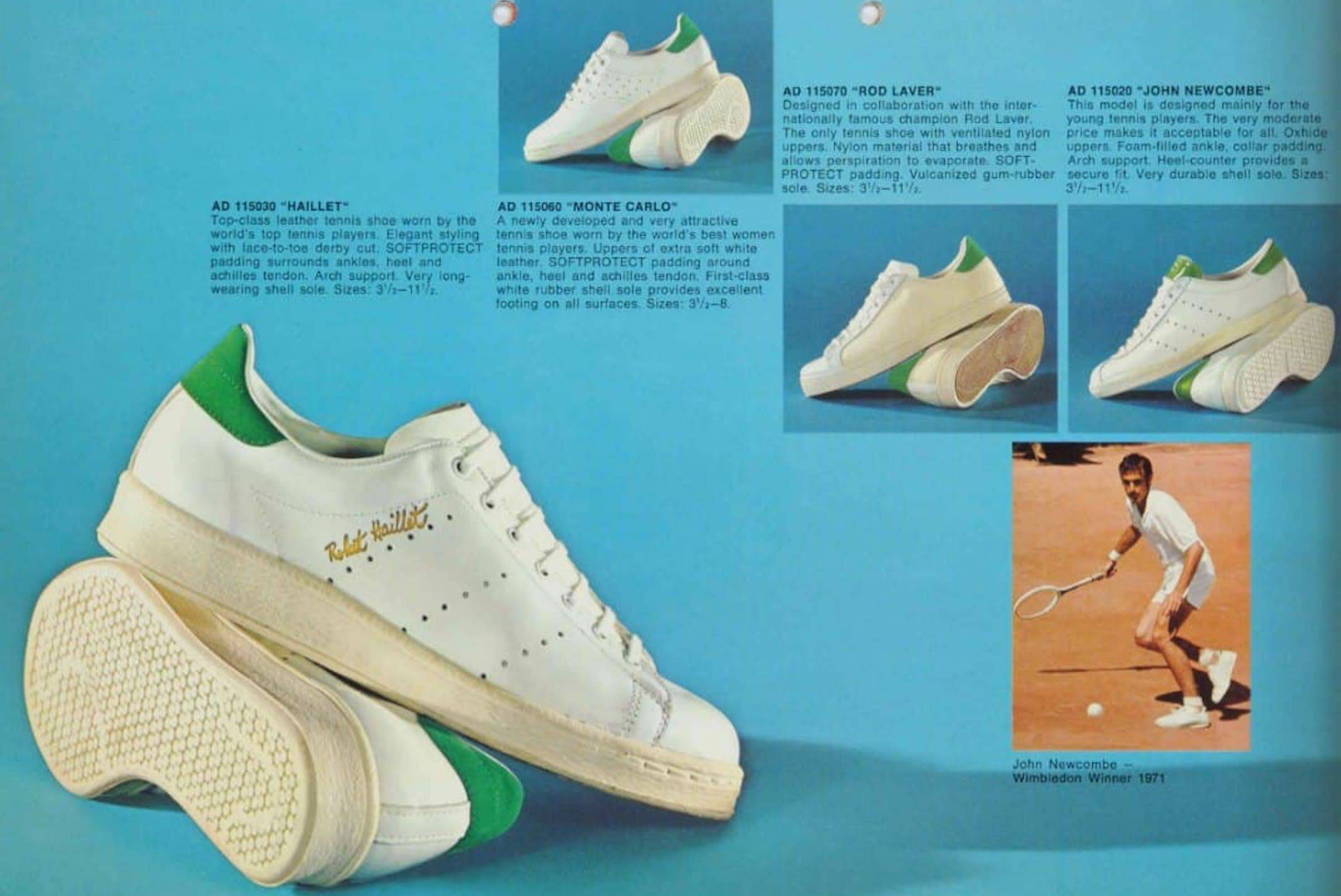 An of-the-era catalog showing adidas' roster of tennis shoes, prominently featuring the adidas Robert Haillet.