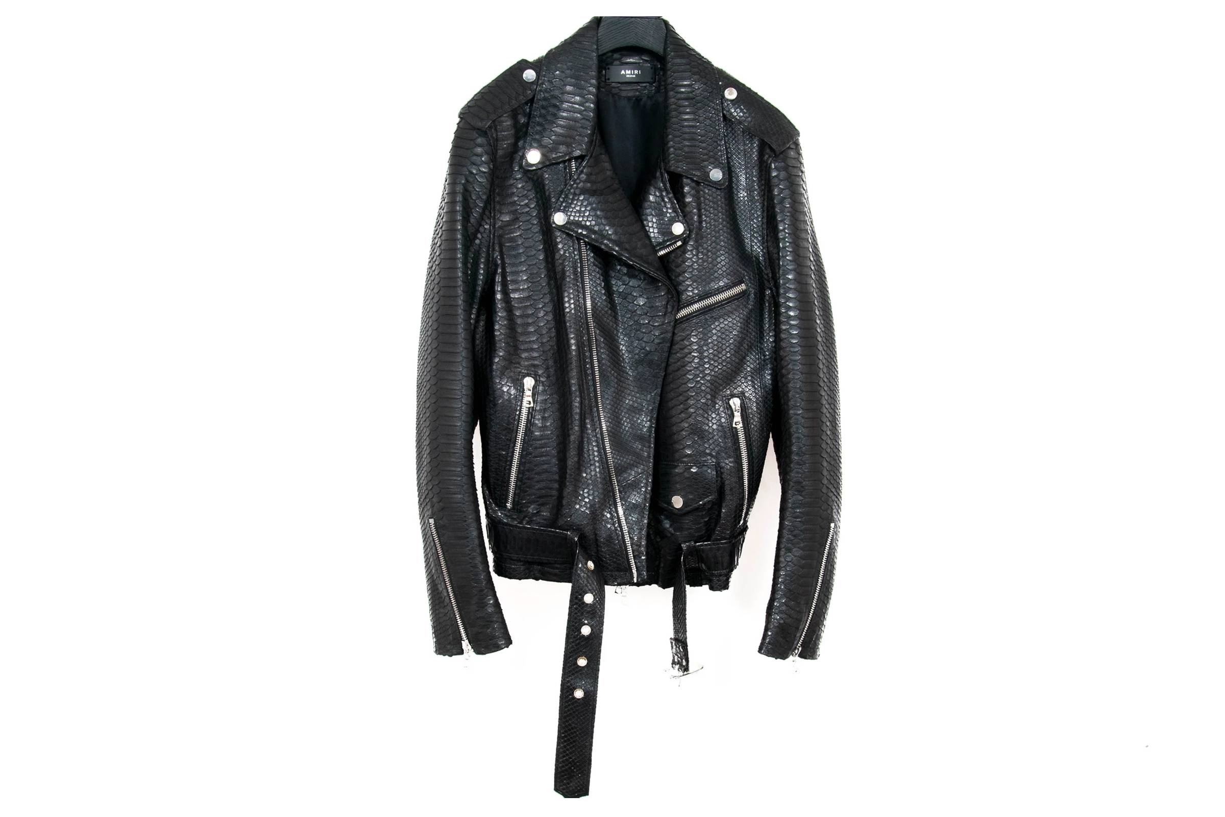 Amiri Python Leather Biker Jacket