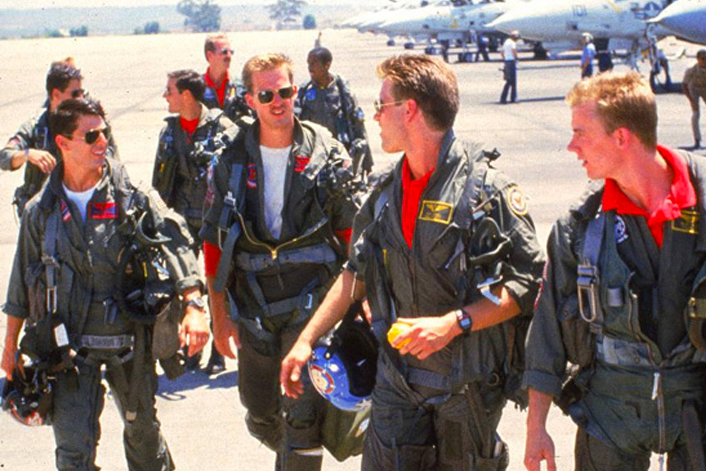"From left: ""Maverick"" (Tom Cruise) in traditional aviator sunglasses, ""Goose"" (Anthony Edwards) in Caravan-style aviators and ""Iceman"" (Val Kilmer) in Shooter-style aviators"