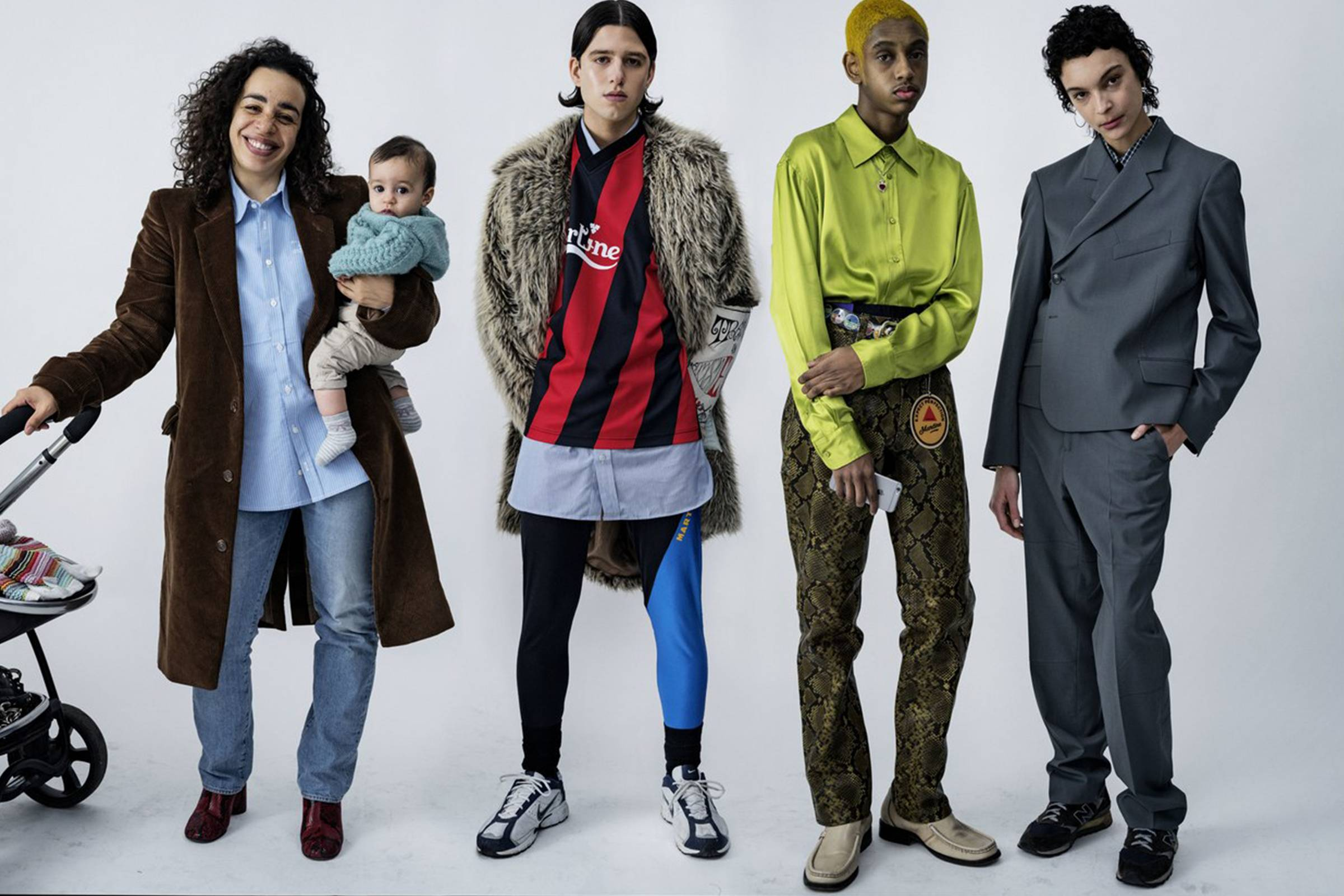 Rose (left) with son Reuben and models in Martine Rose Spring/Summer 2016