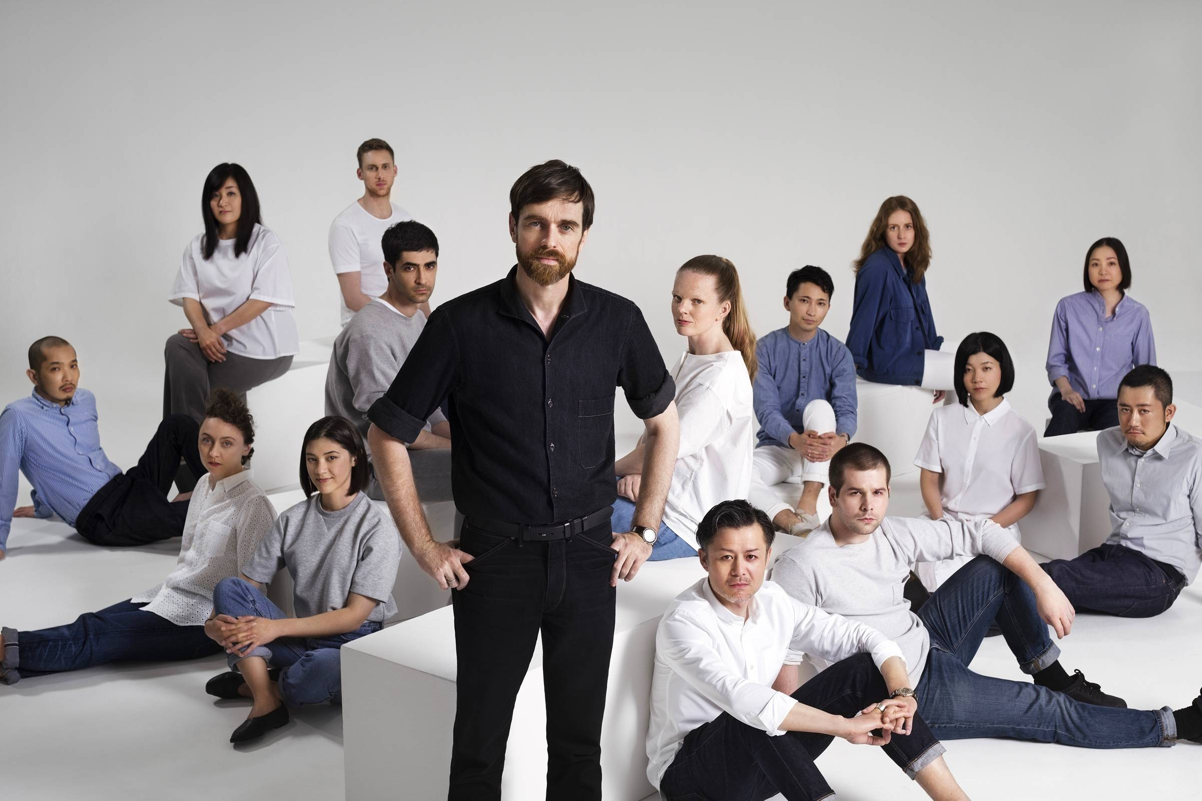 Christophe Lemaire (center), current Artistic Director of Uniqlo Paris R&D Center and Uniqlo U line