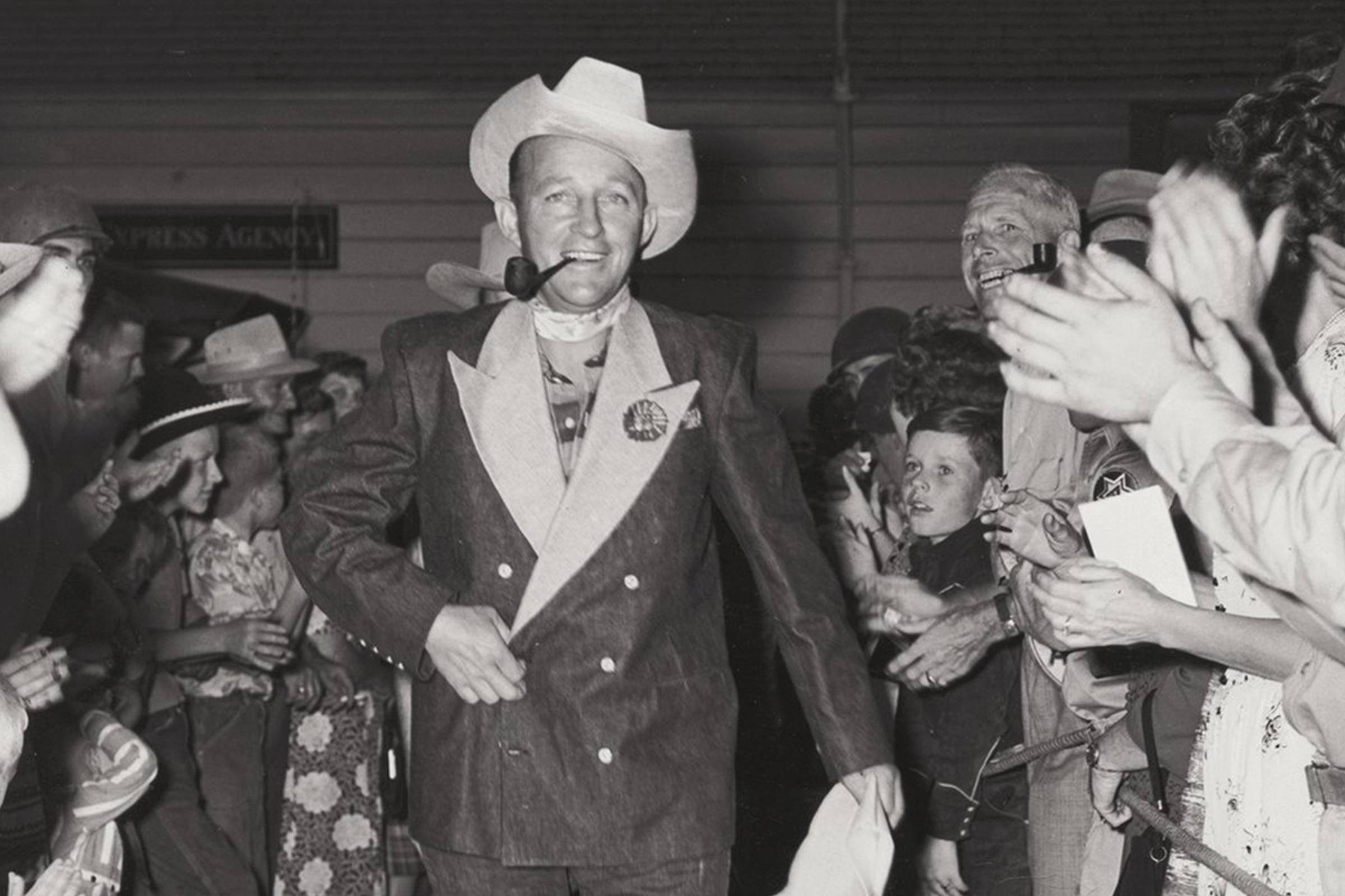 Bing Crosby in his custom double-breasted Levi's denim tuxedo