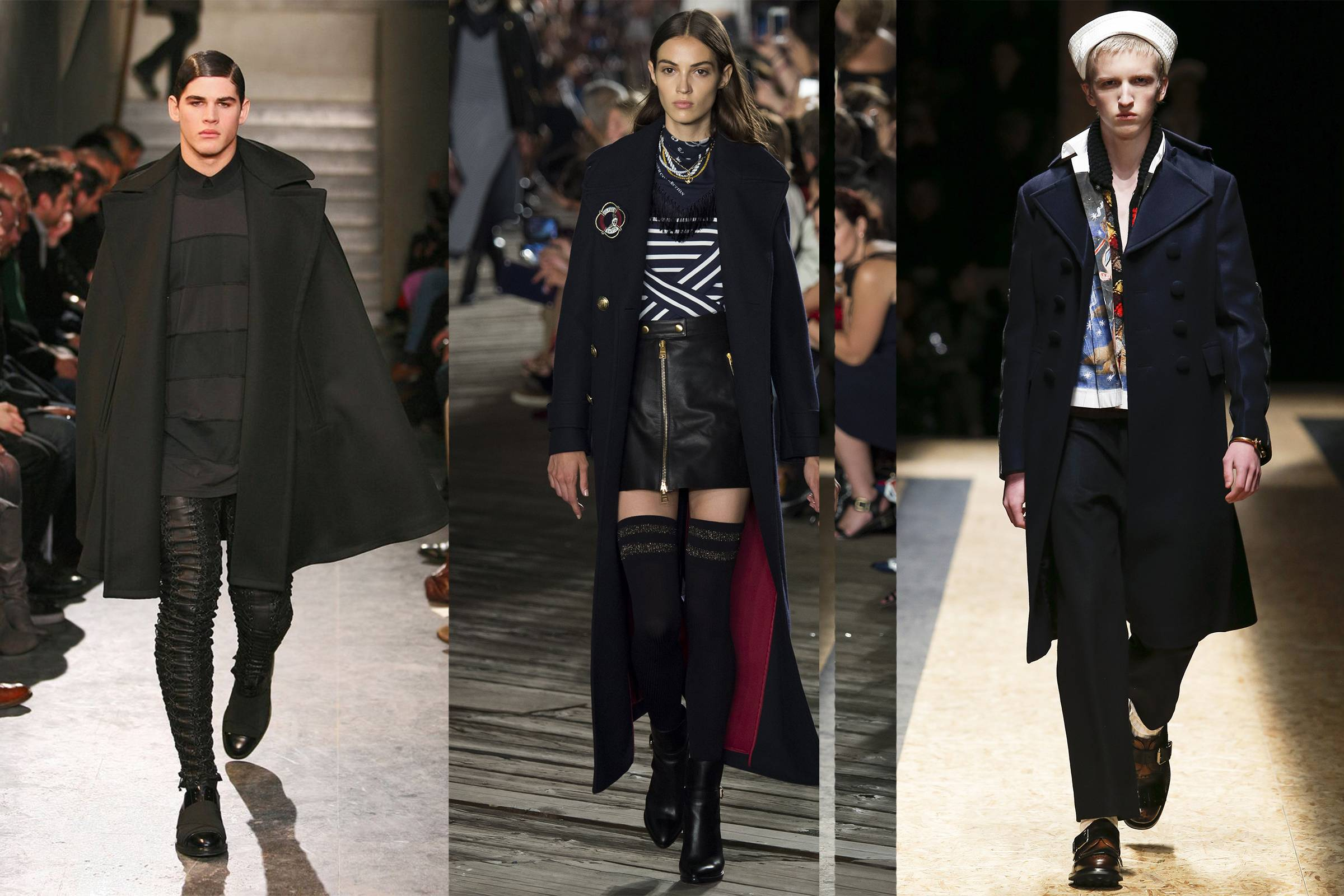 From left to right: Givenchy Fall 2009 Menswear; Tommy Hilfiger Fall 2016 Ready-to-Wear; Prada Fall 2016 Menswear
