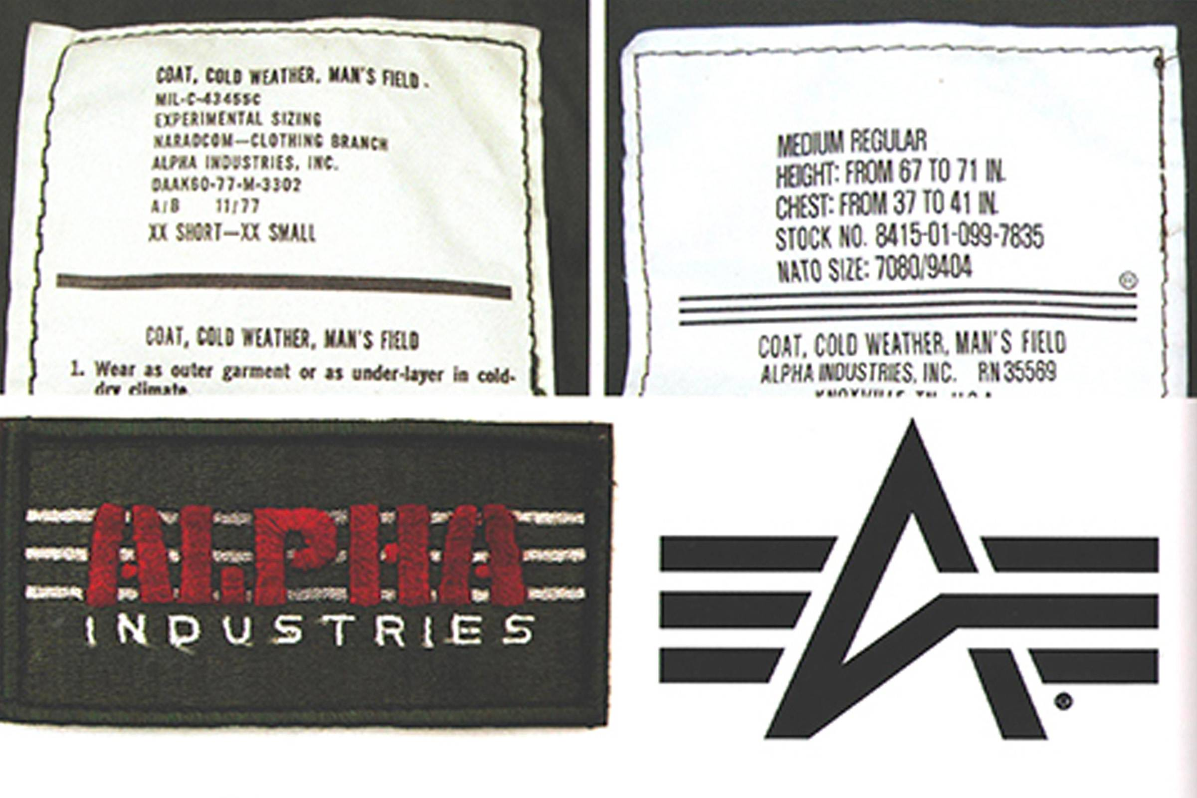 "Alpha Industries' ""Flying A"" logo (right)"