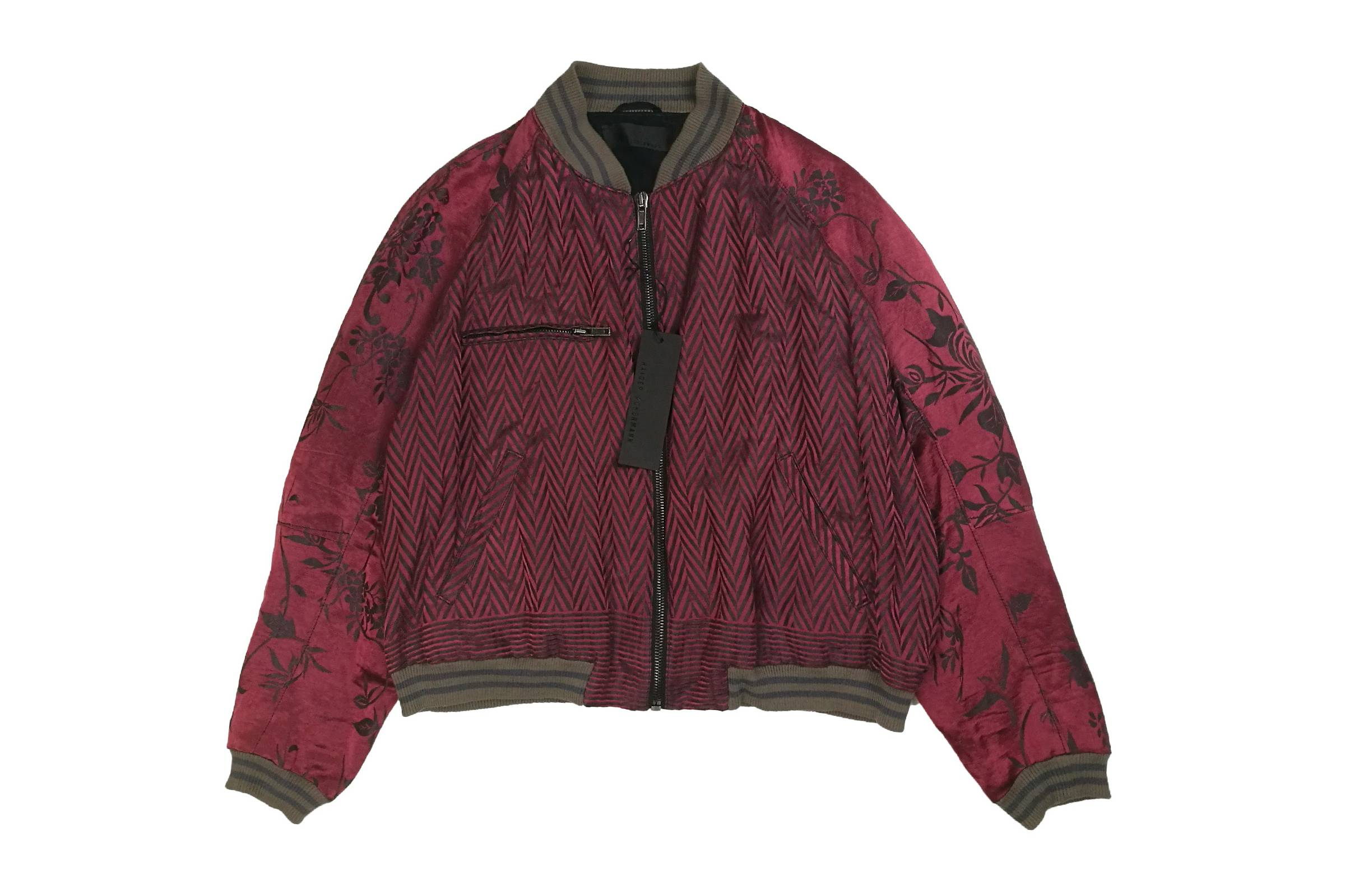 Haider Ackermann Chevron and Floral Brocade Bomber Jacket