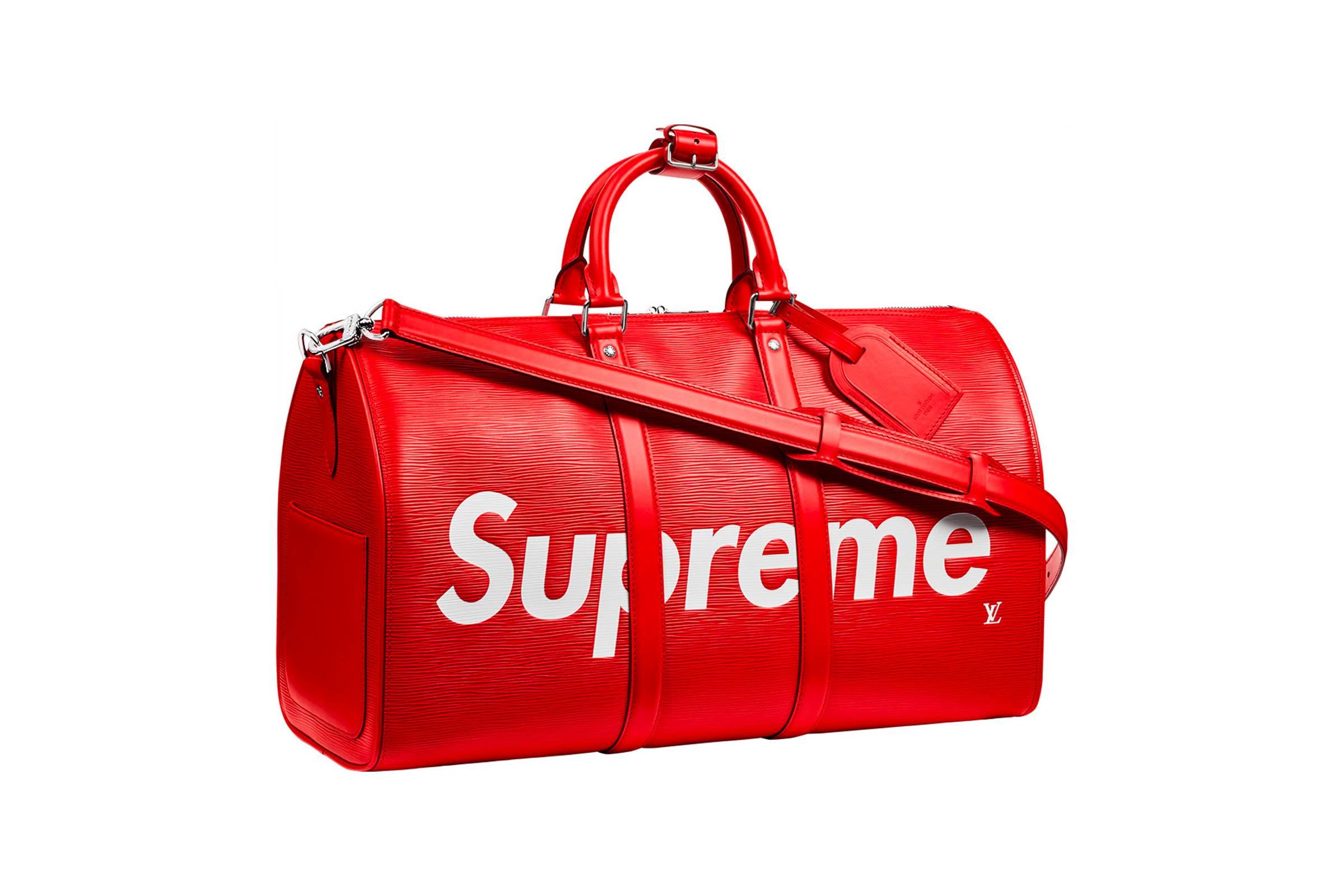 1. Louis Vuitton x Supreme Keepall Bandouliere Epi 45 Red