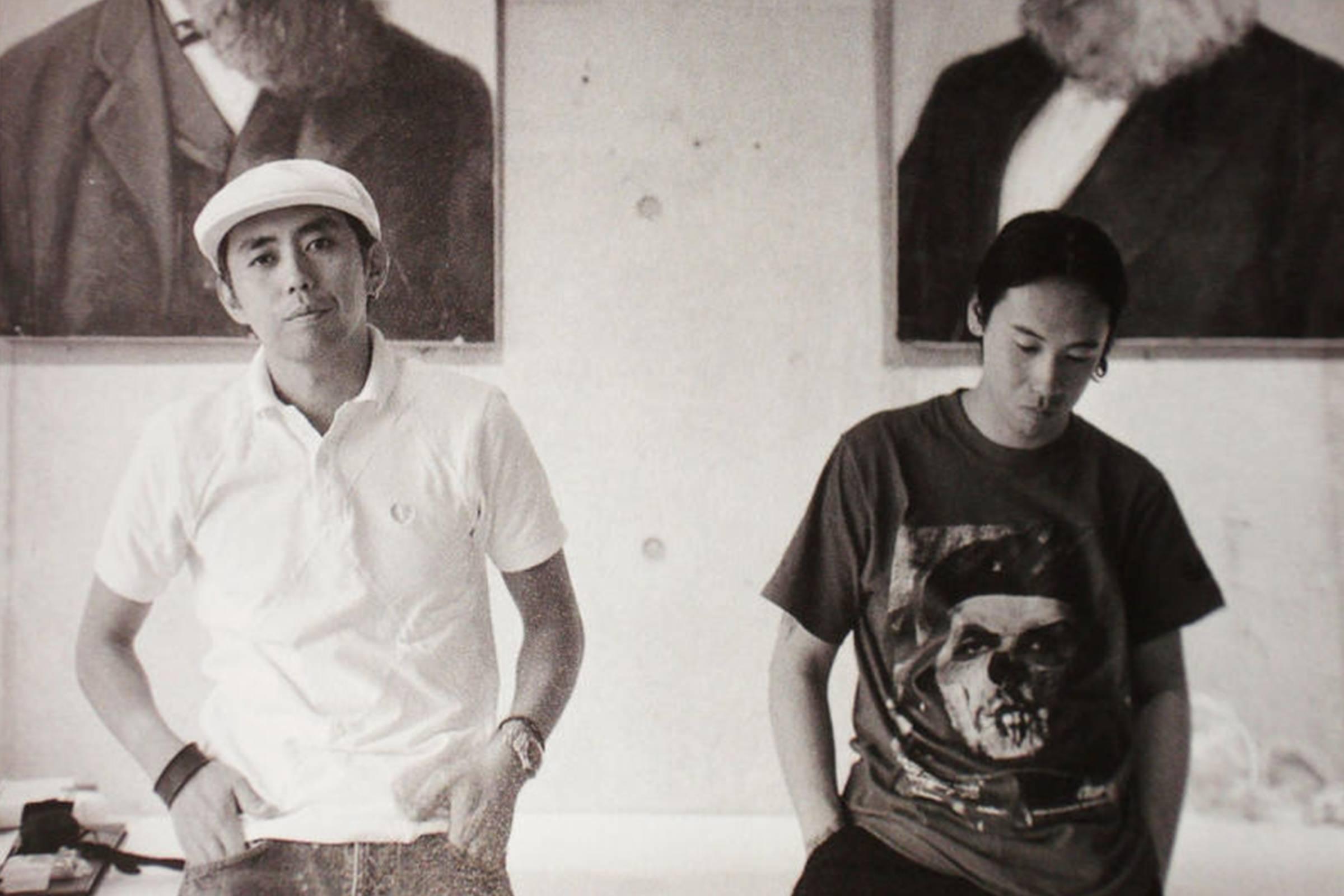 Hiroshi Fujiwara (left) and Jun Takahashi (right), leaders in the Ura-Harajuku scene (1990)