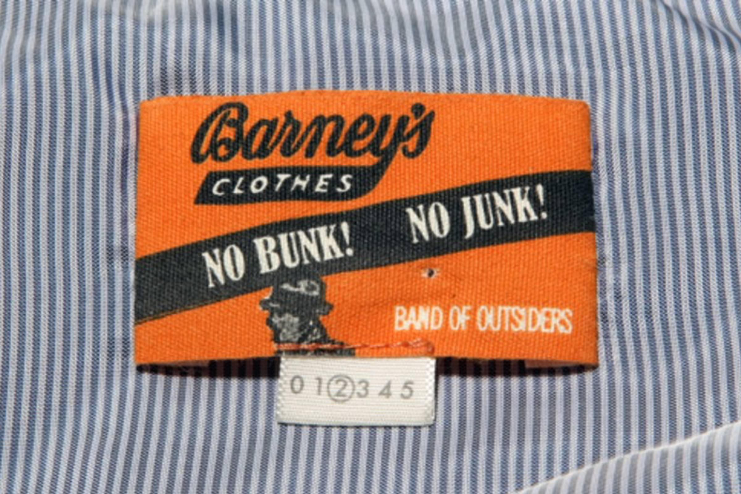 """A label from the Band of Outsiders """"No Bunk, No Junk"""" collaboration with Barneys New York"""