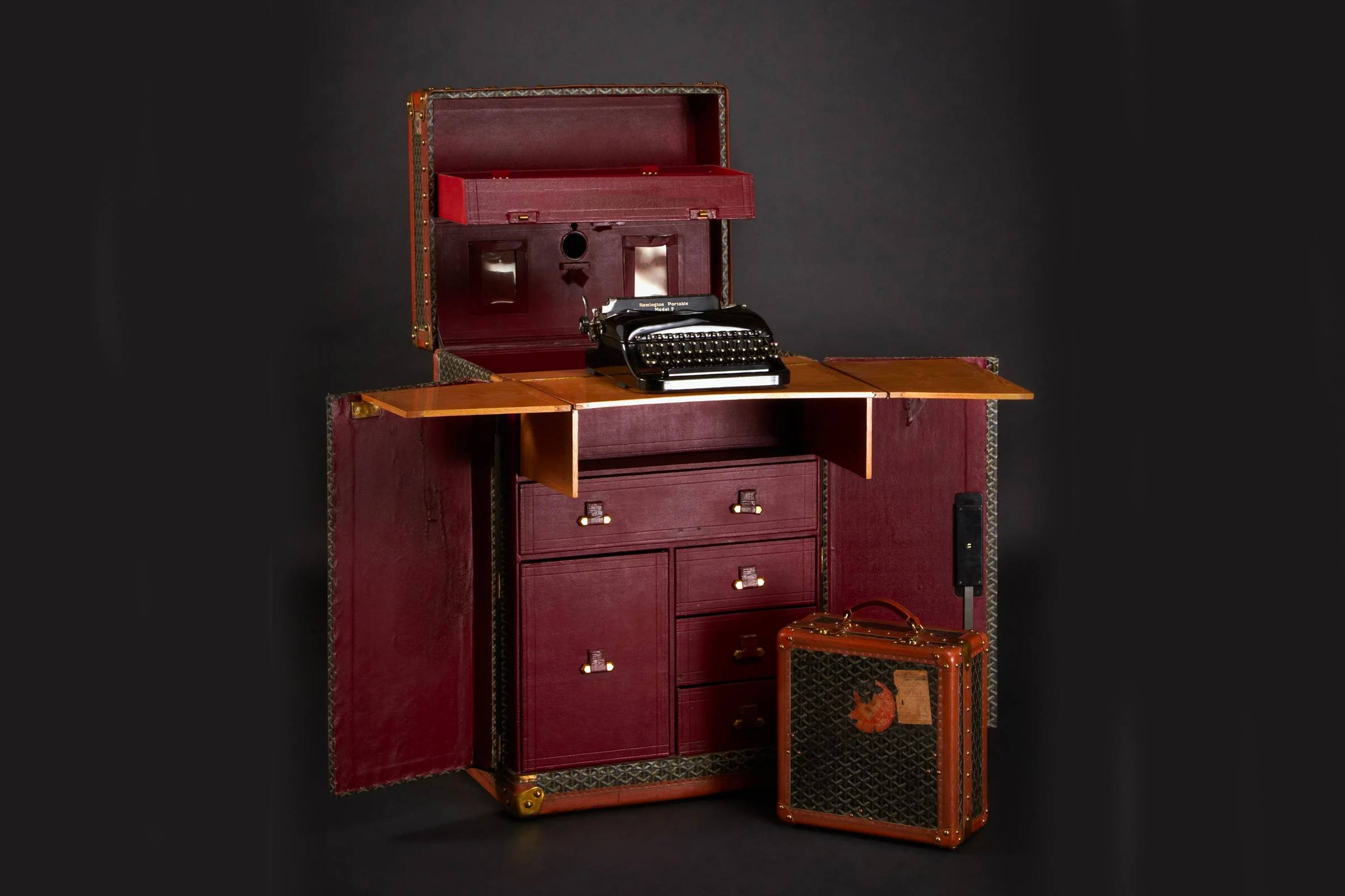 Sir Arthur Conan Doyle's custom Goyard trunk, which expands from a standard travel trunk into a full-size desk