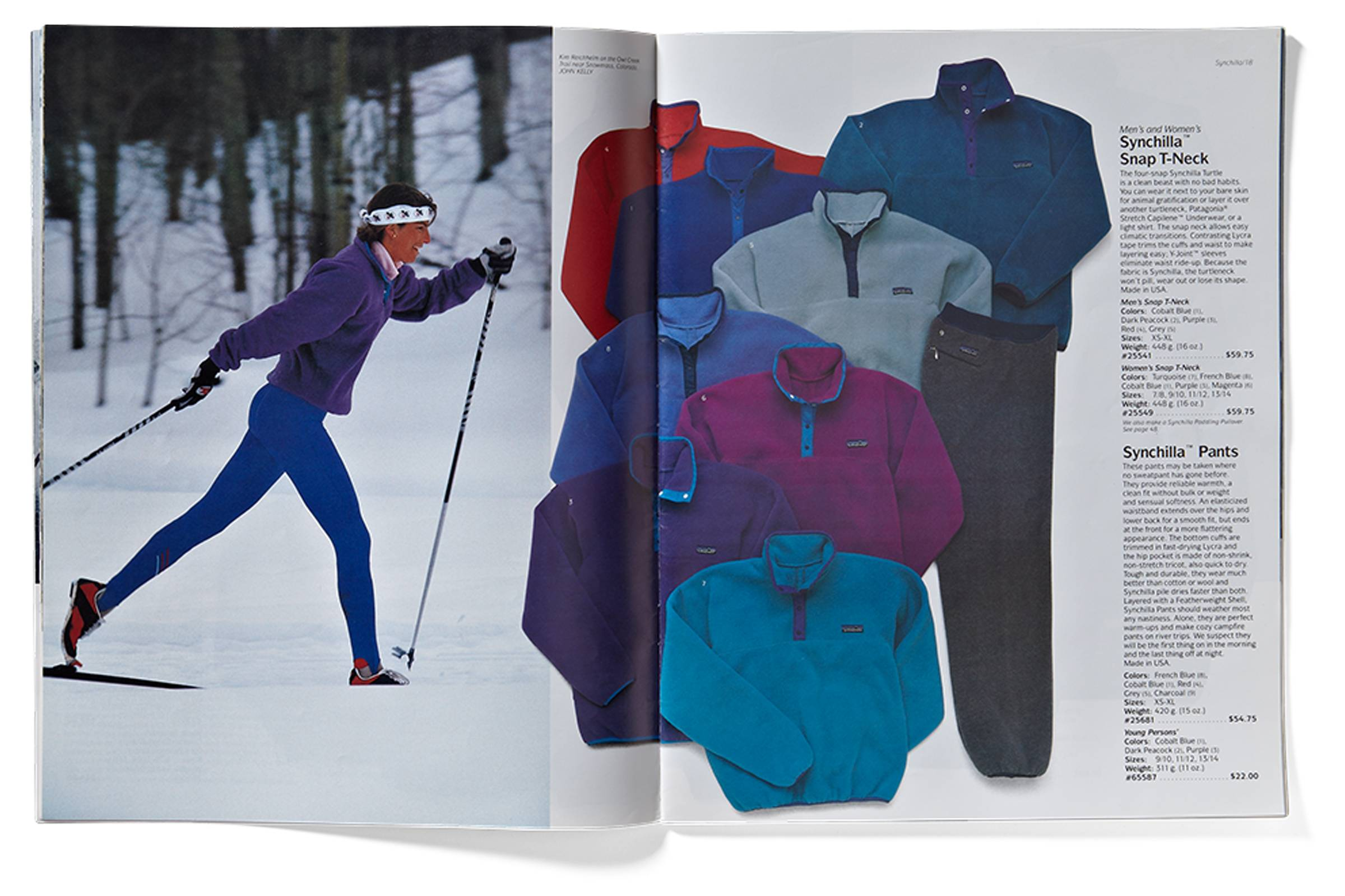 Patagonia catalog section highlighting Synchilla synthetic fleece