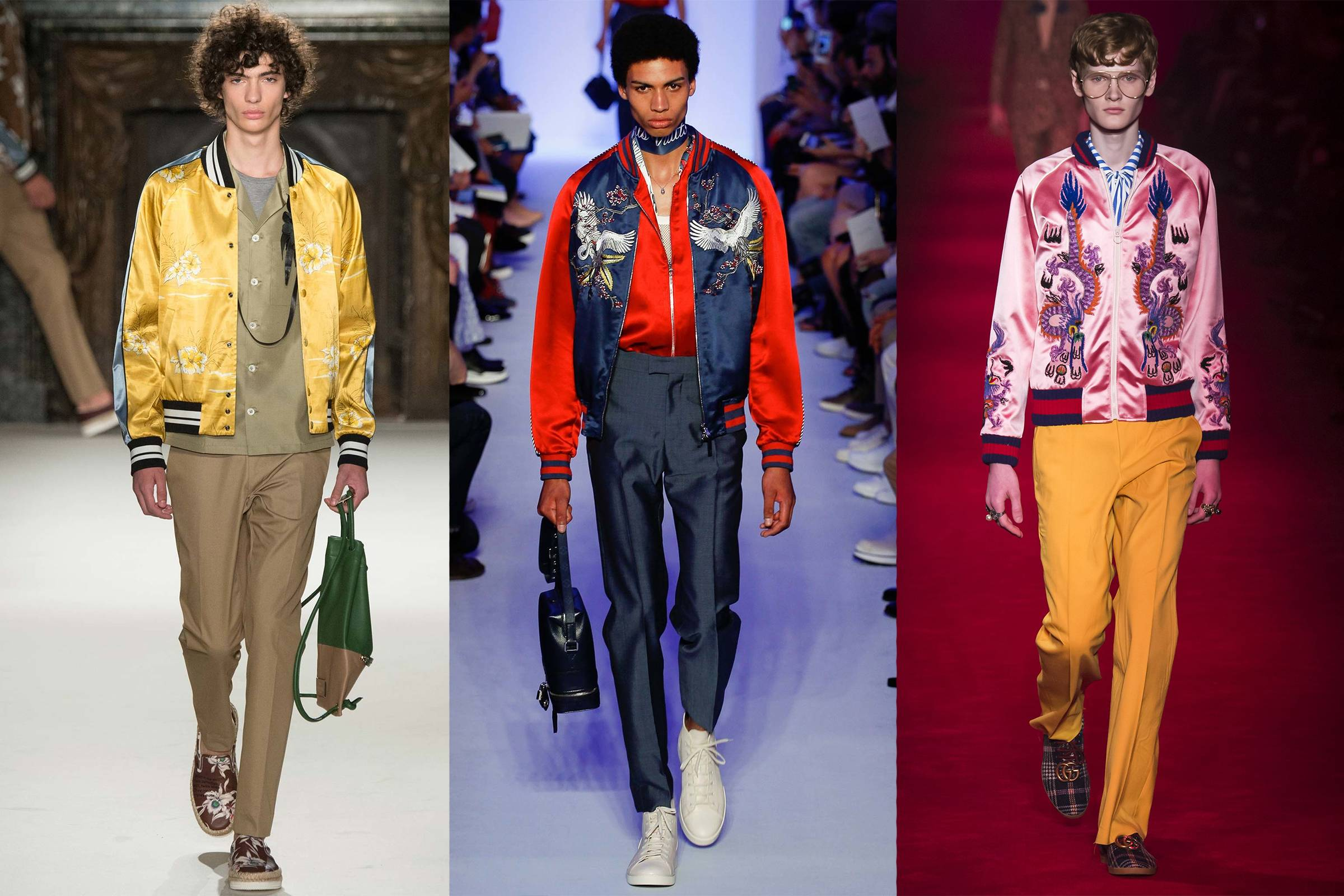 From left to right: Valentino Spring/Summer 2016 Menswear, Louis Vuitton Spring/Summer 2016 Menswear and Gucci Fall 2016 Menswear