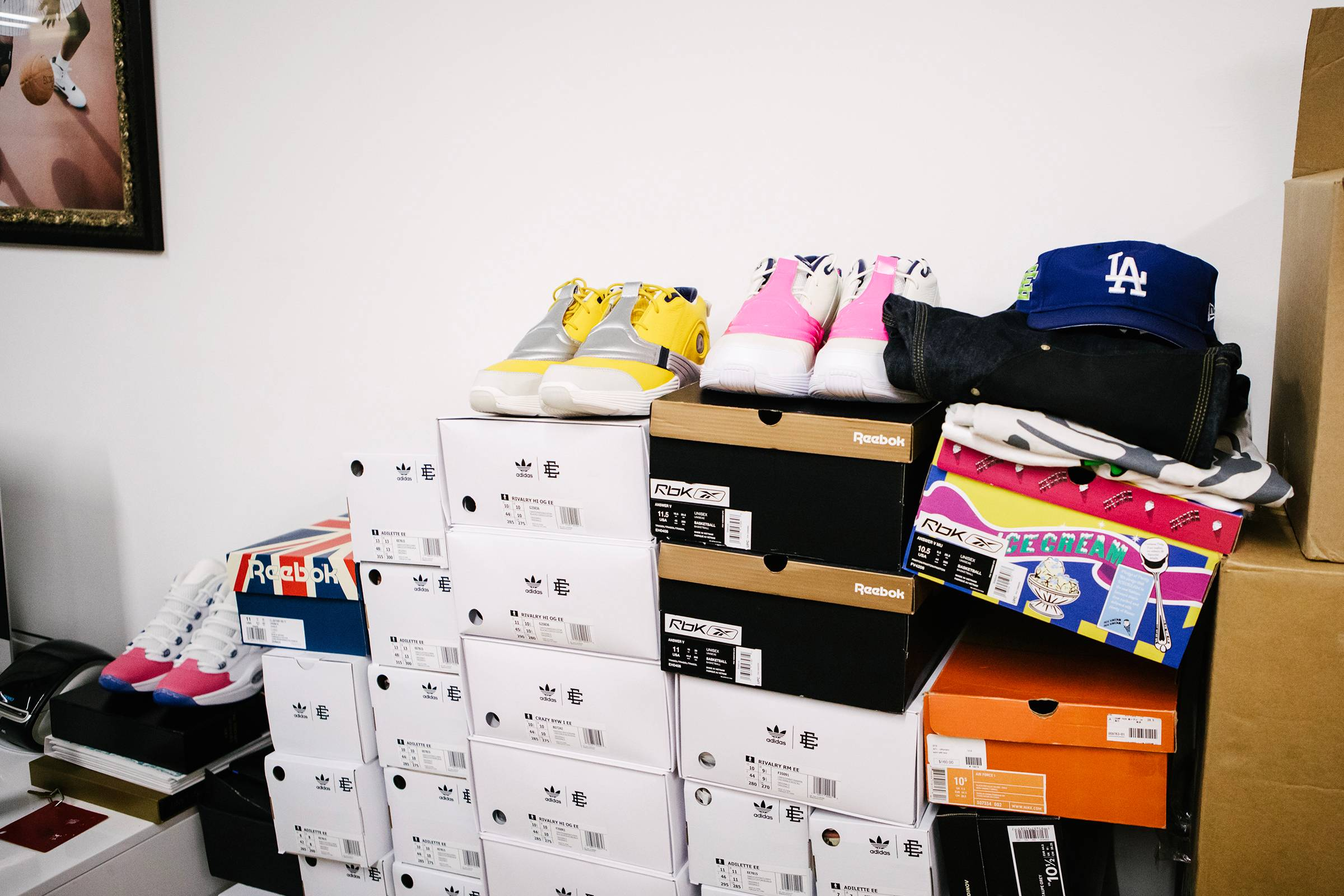 A moutain of shoeboxes—including Eric Emanuel's collaboration with Reebok and Allen Iverson—in Emanuel's office.