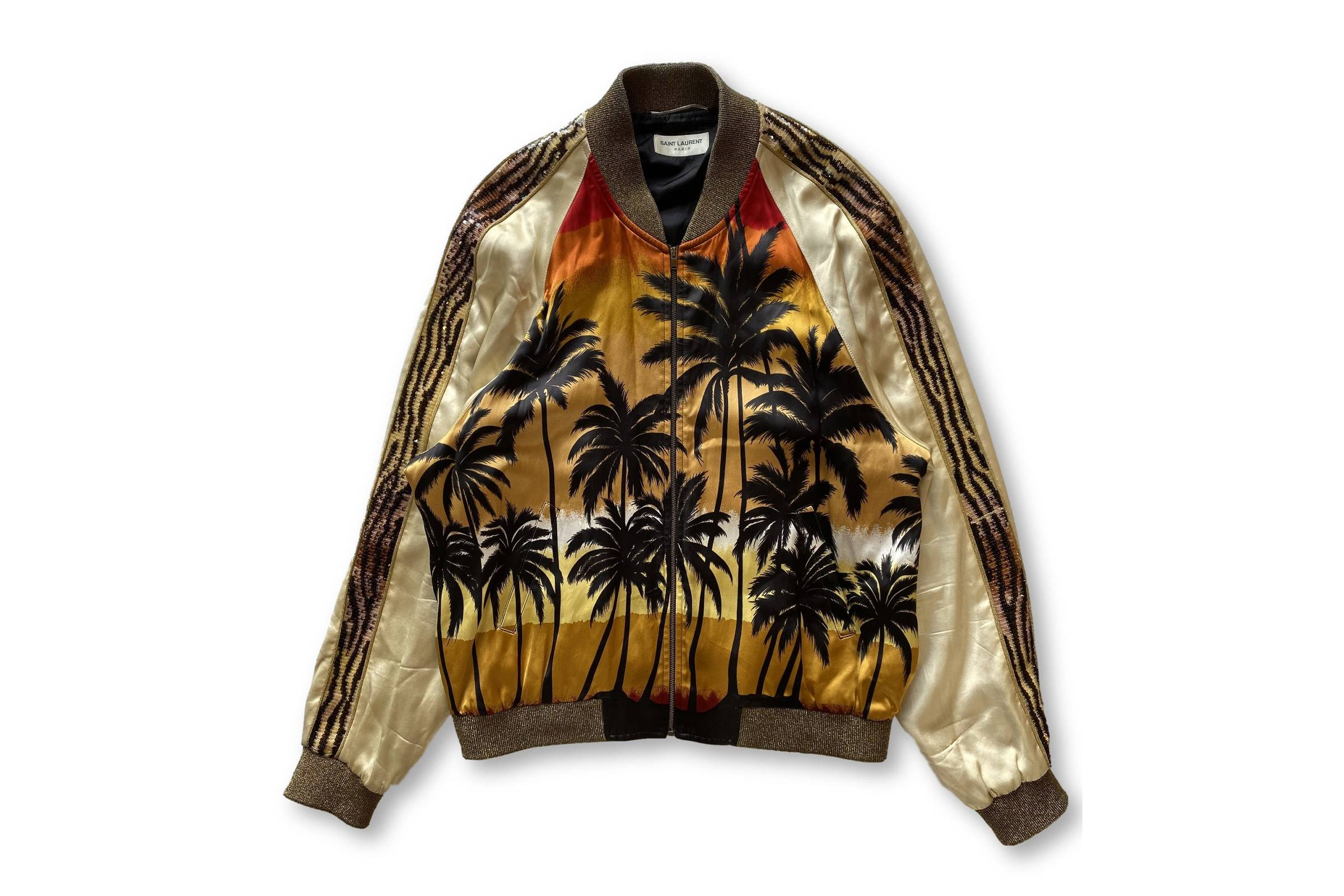 "Saint Laurent Paris Spring/Summer 2016 ""Surf Sound"" Palm Trees Silk Jacket"
