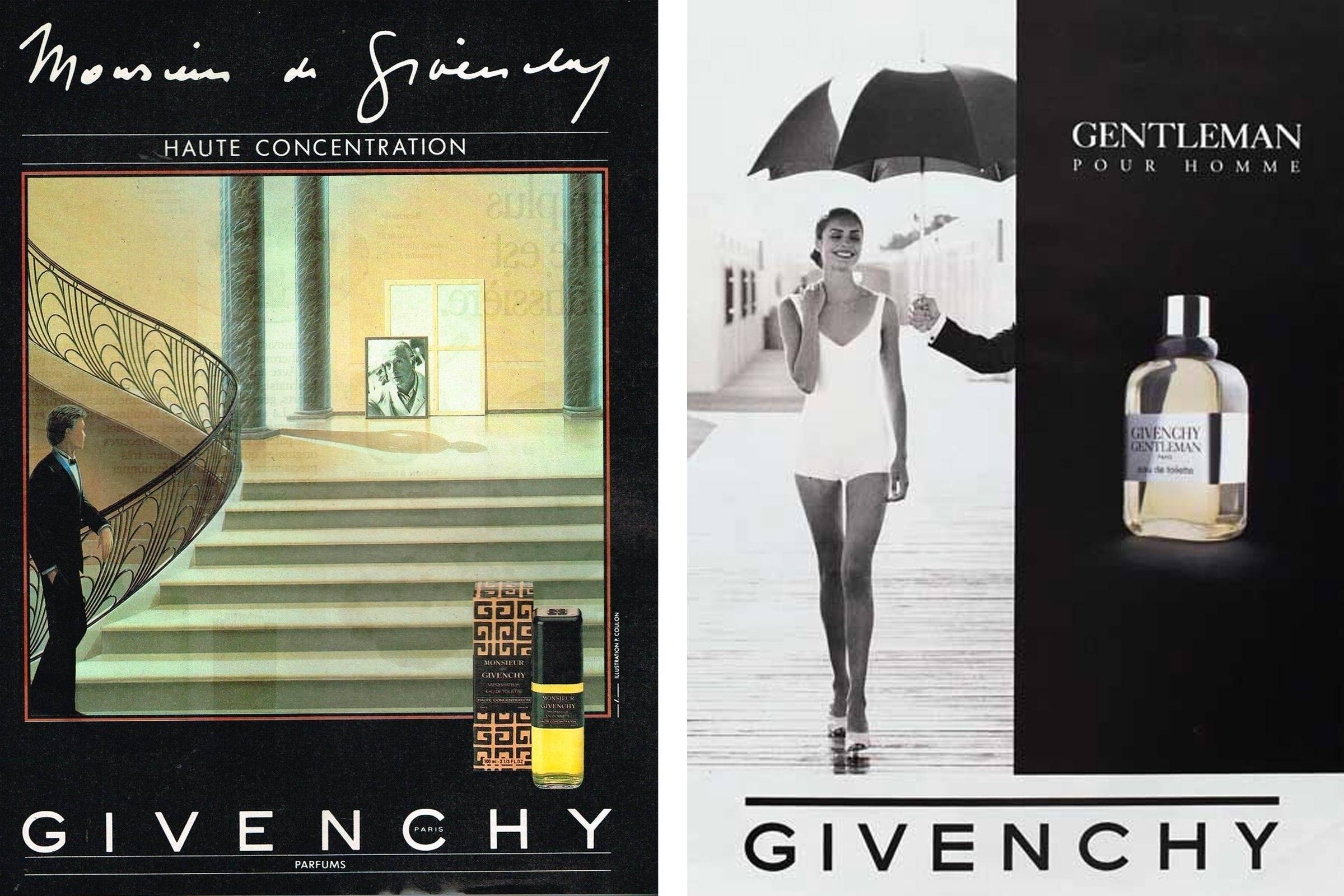 Monsieur Givenchy fragrance ad from 1985 (left); Givenchy Gentleman Pour Homme fragrance ad from 1987