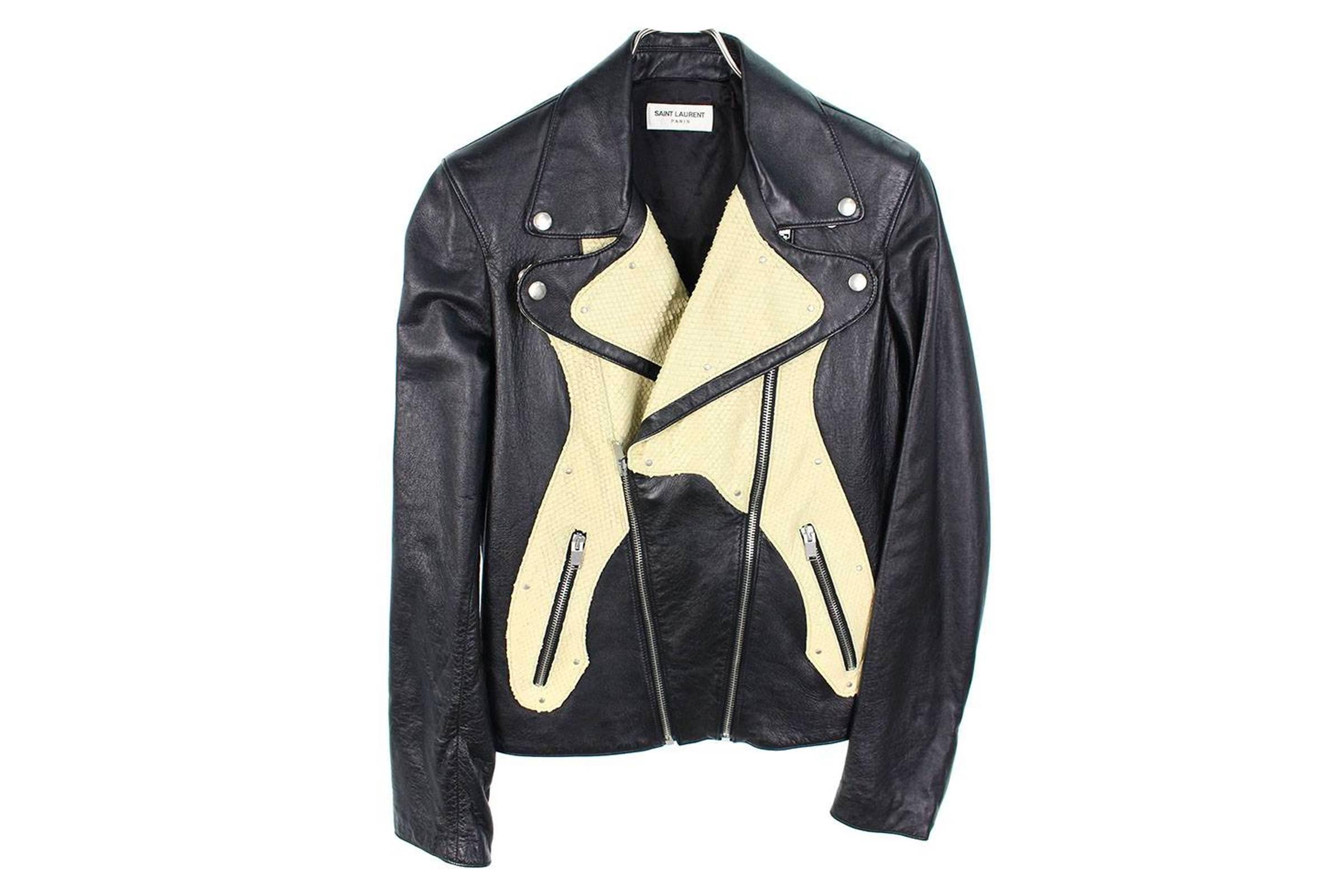 """Saint Laurent Paris """"Guitar"""" Python Leather Jacket"""