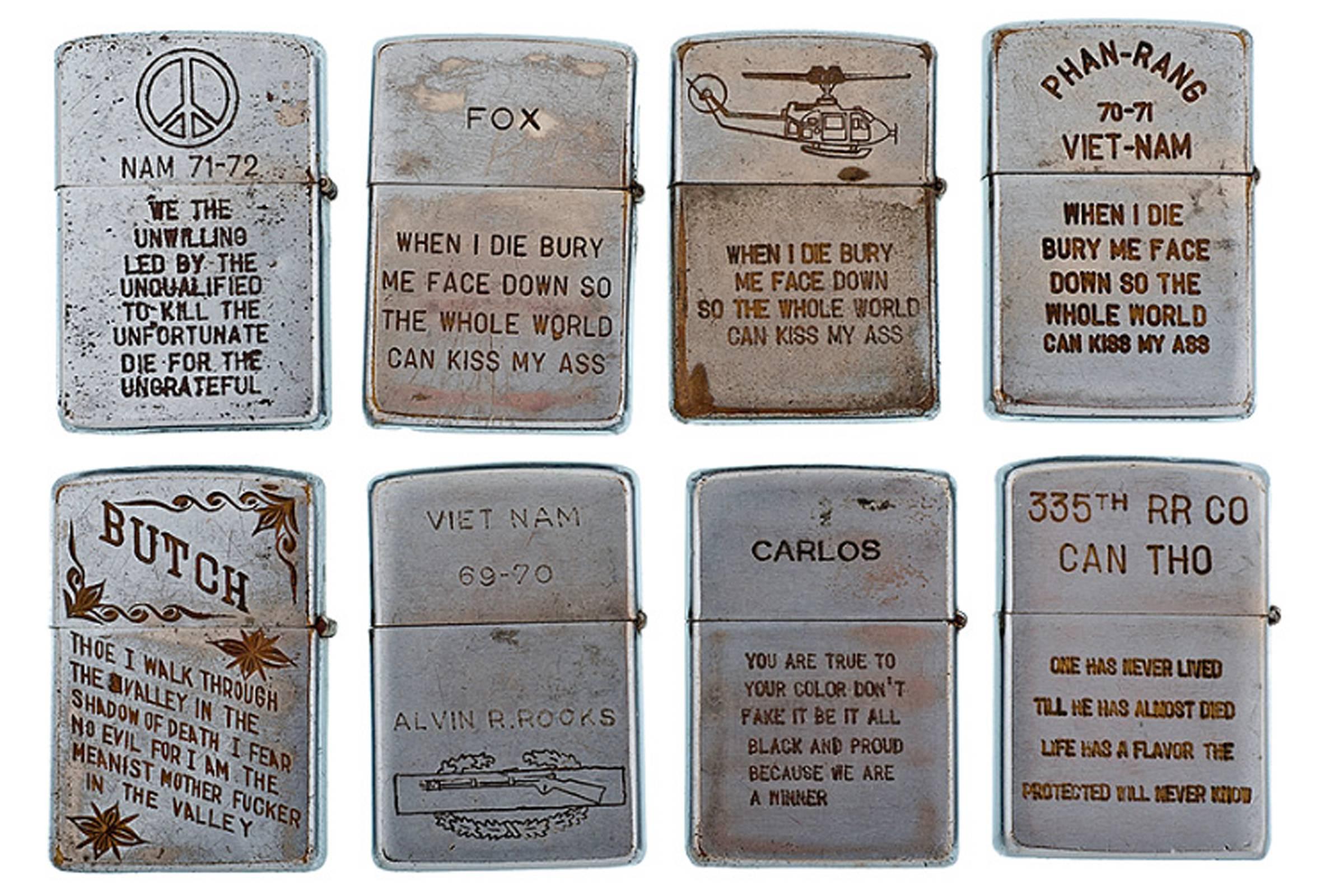 Customized Vietnam War-era Zippo lighters