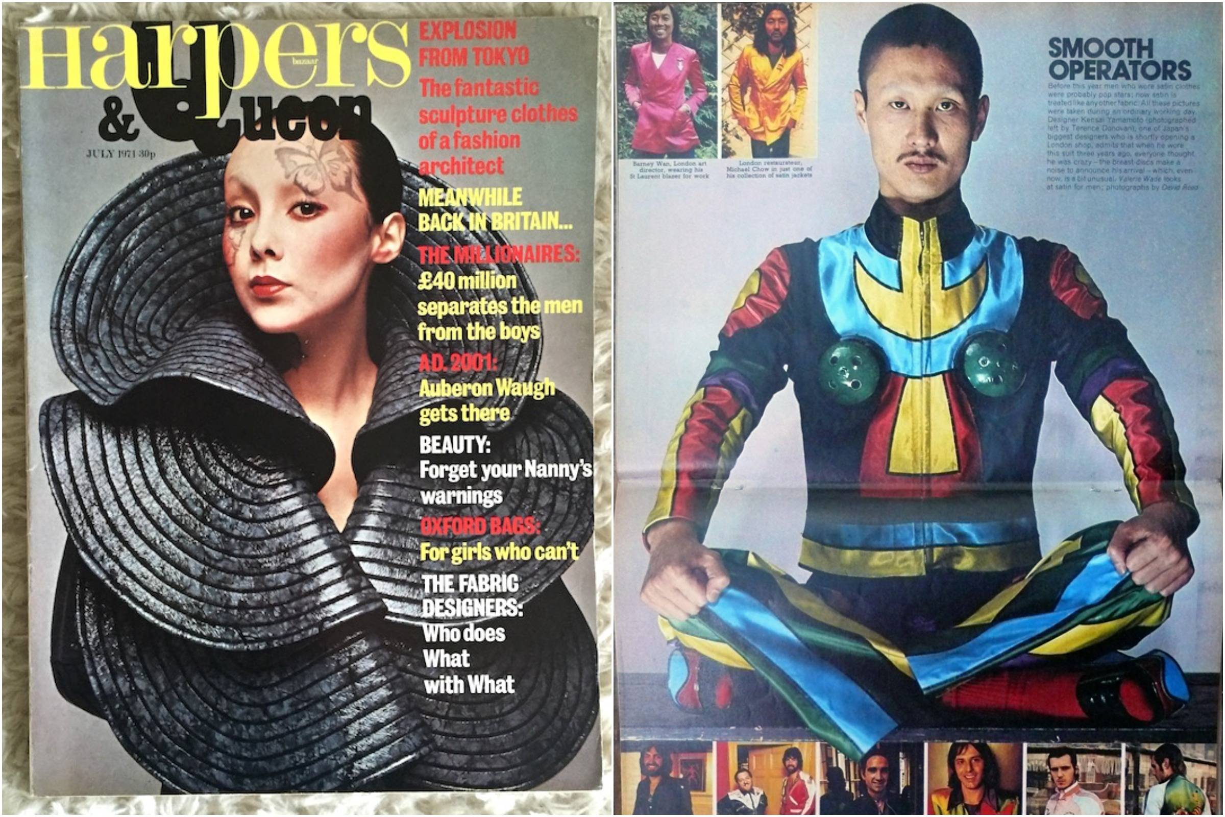 "Left: Kansai on the cover of ""Harpers & Queen,"" July 1971. Right: ""The Sunday Times Magazine,"" November 28, 1971"