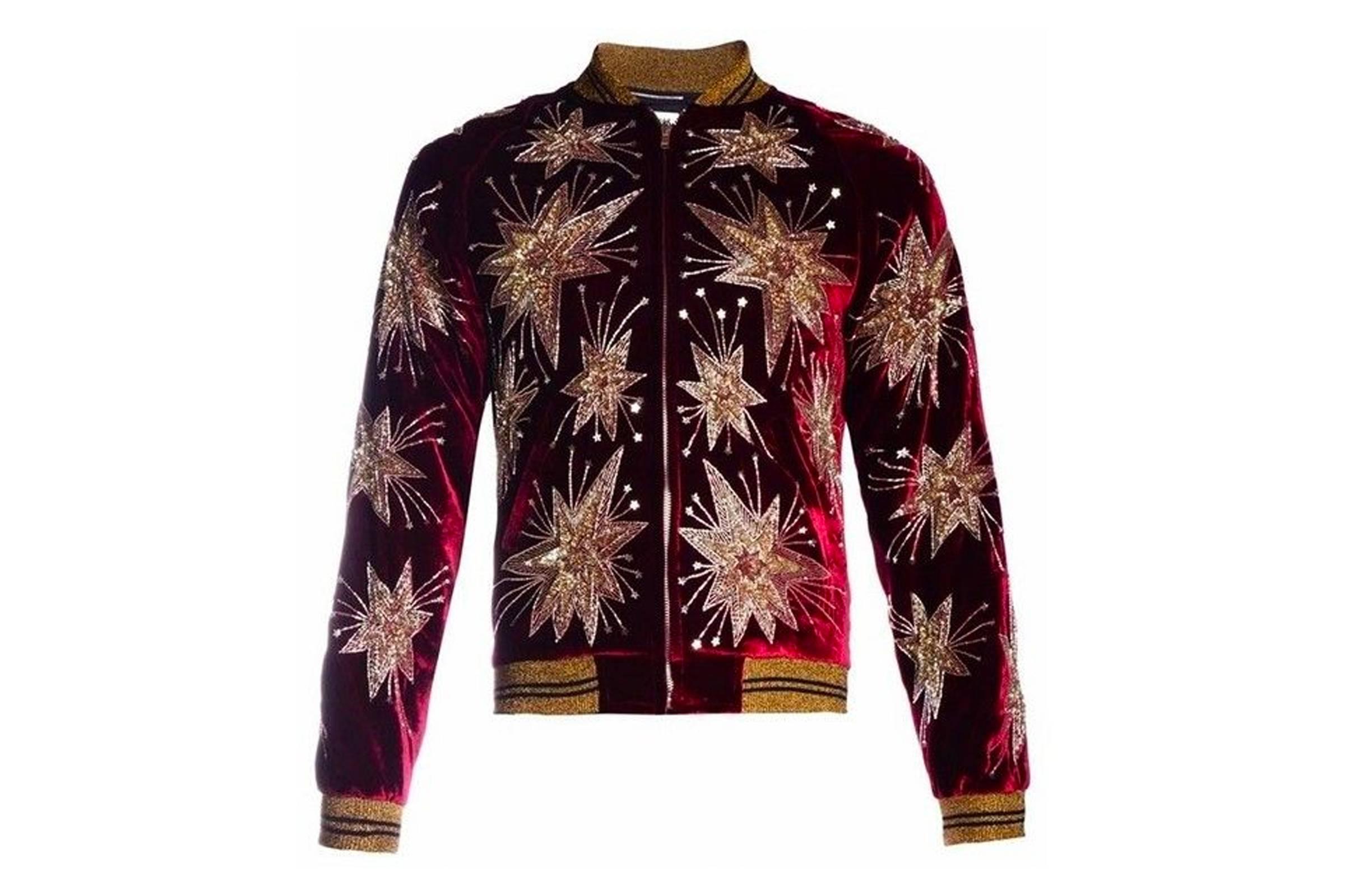 Saint Laurent Paris Firework Embelished Velvet Jacket