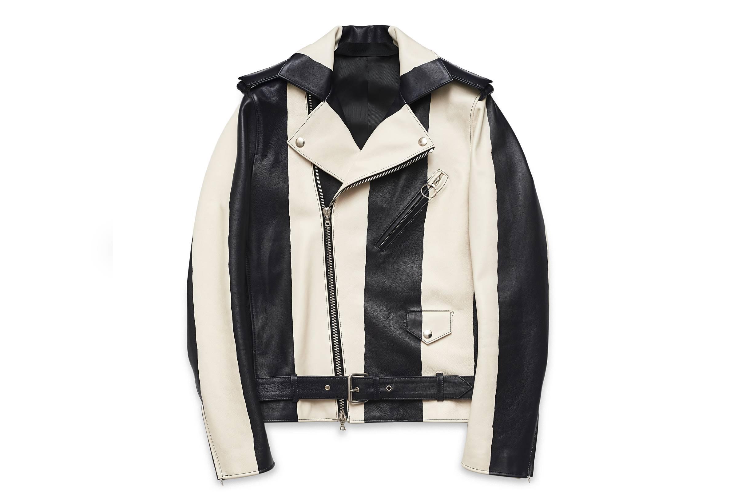 Acne Studios Araki Striped Motorcycle Jacket