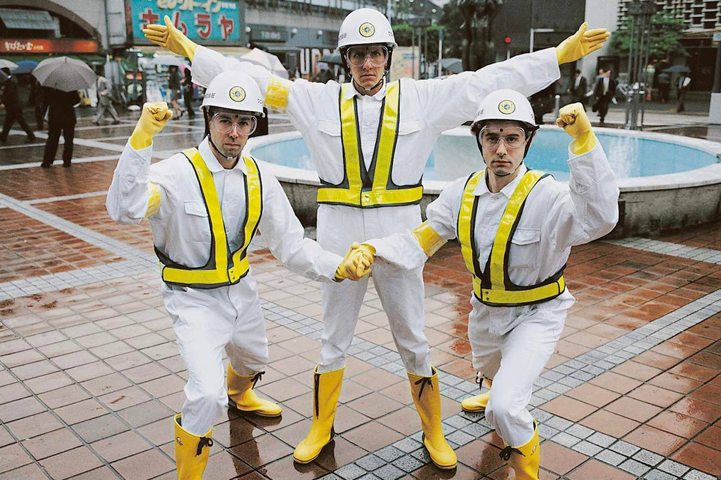 """The Beastie Boys in Tokyo filming the video for """"Intergalactic"""" in 1998"""