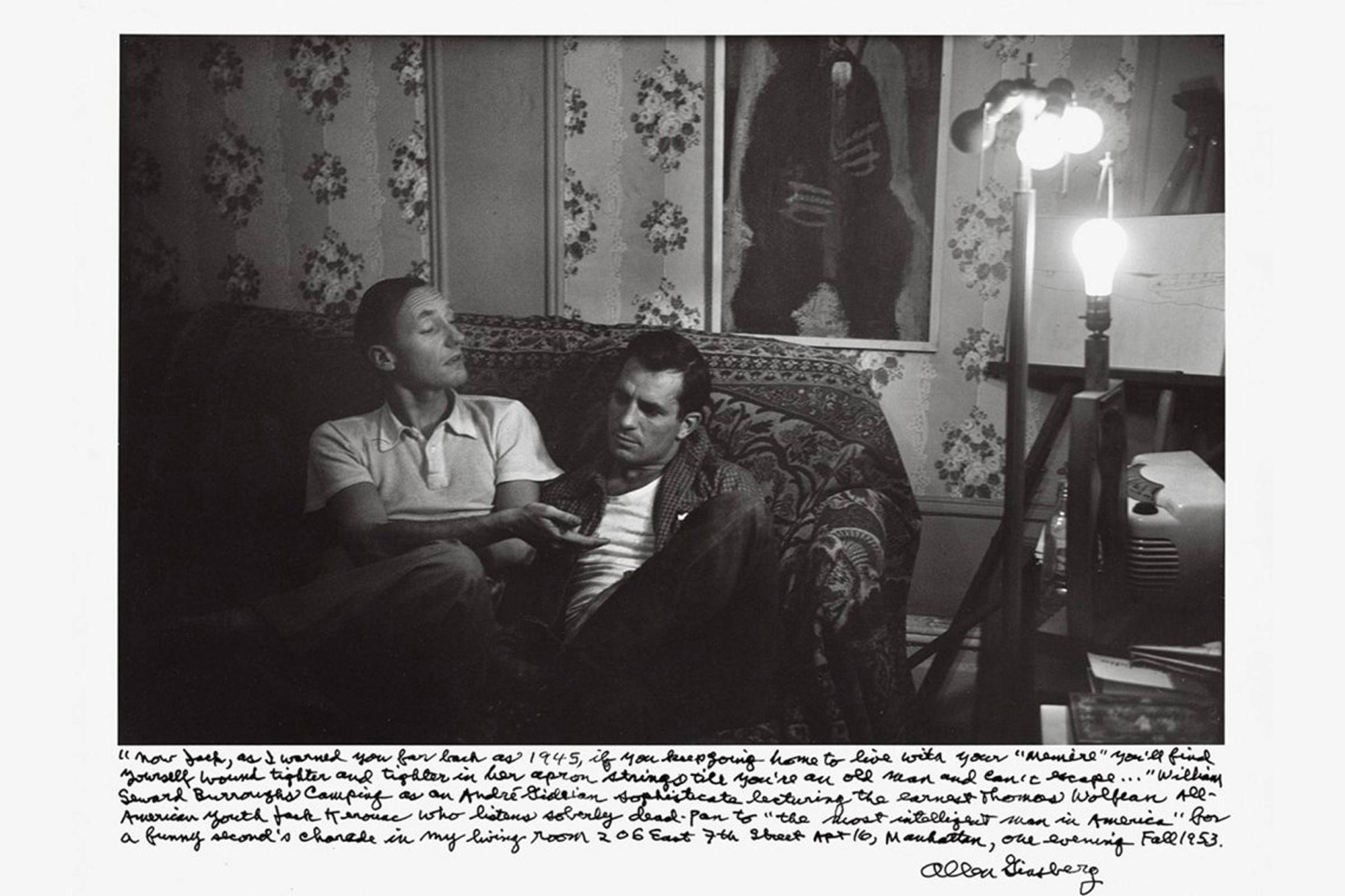 William S. Burroughs (left) and Jack Kerouac in Allen Ginsberg's Manhattan Apartment in 1953. Annotation by Allen Ginsberg