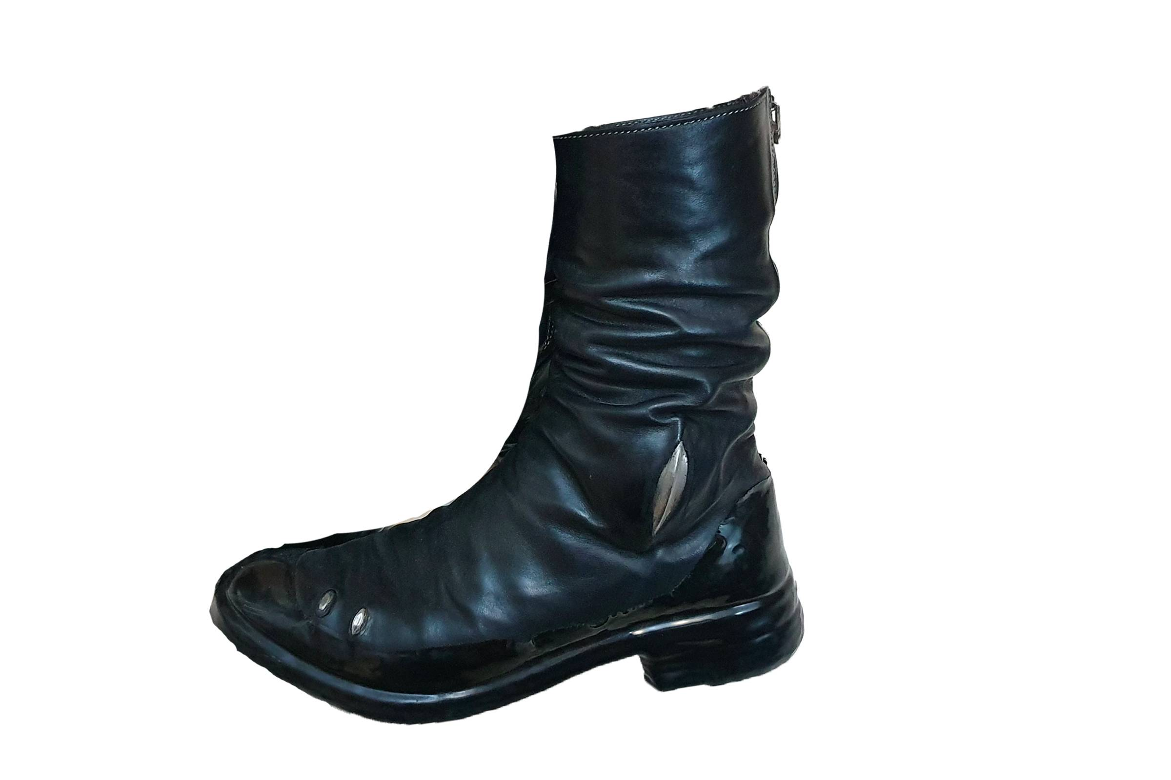 Carol Christian Poell Prosthetic Dripped Diagonal Zip Boots
