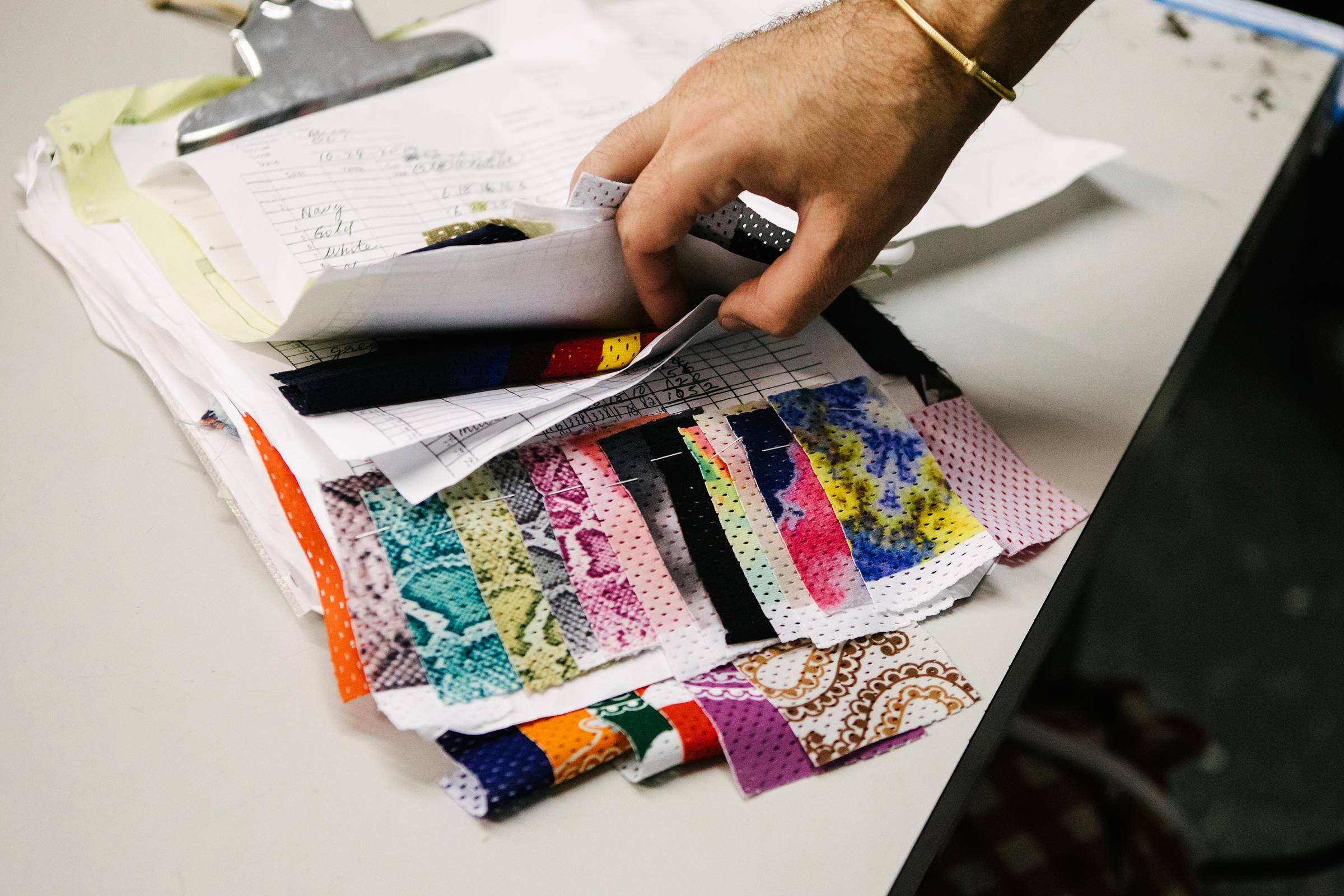 Fabric swatches and treatment samples in the factory