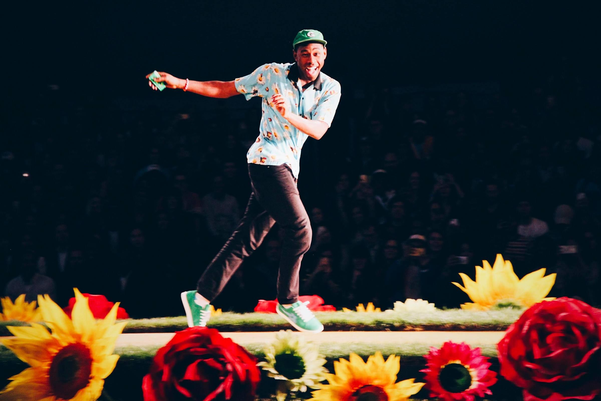 Tyler, The Creator following the debut Golf Wang fashion show wearing Golf Le Fleur* sneakers (2016).