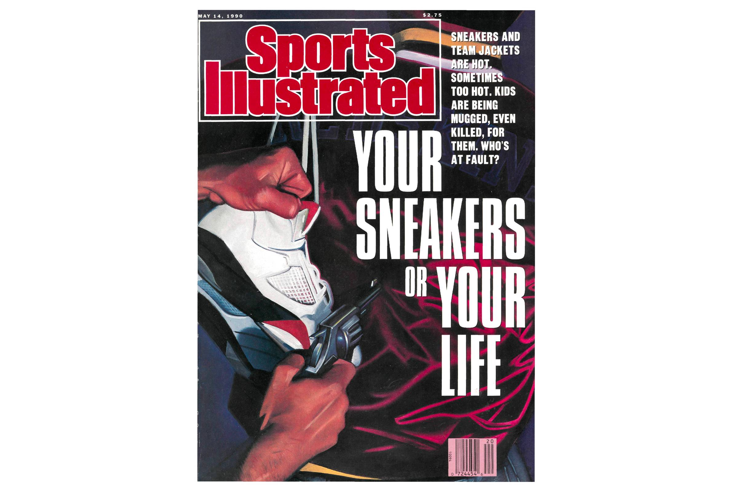 "The now-infamous ""Your Sneakers or Your Life"" cover, appearing on the May 14, 1990 issue of  ""Sports Illustrated"""