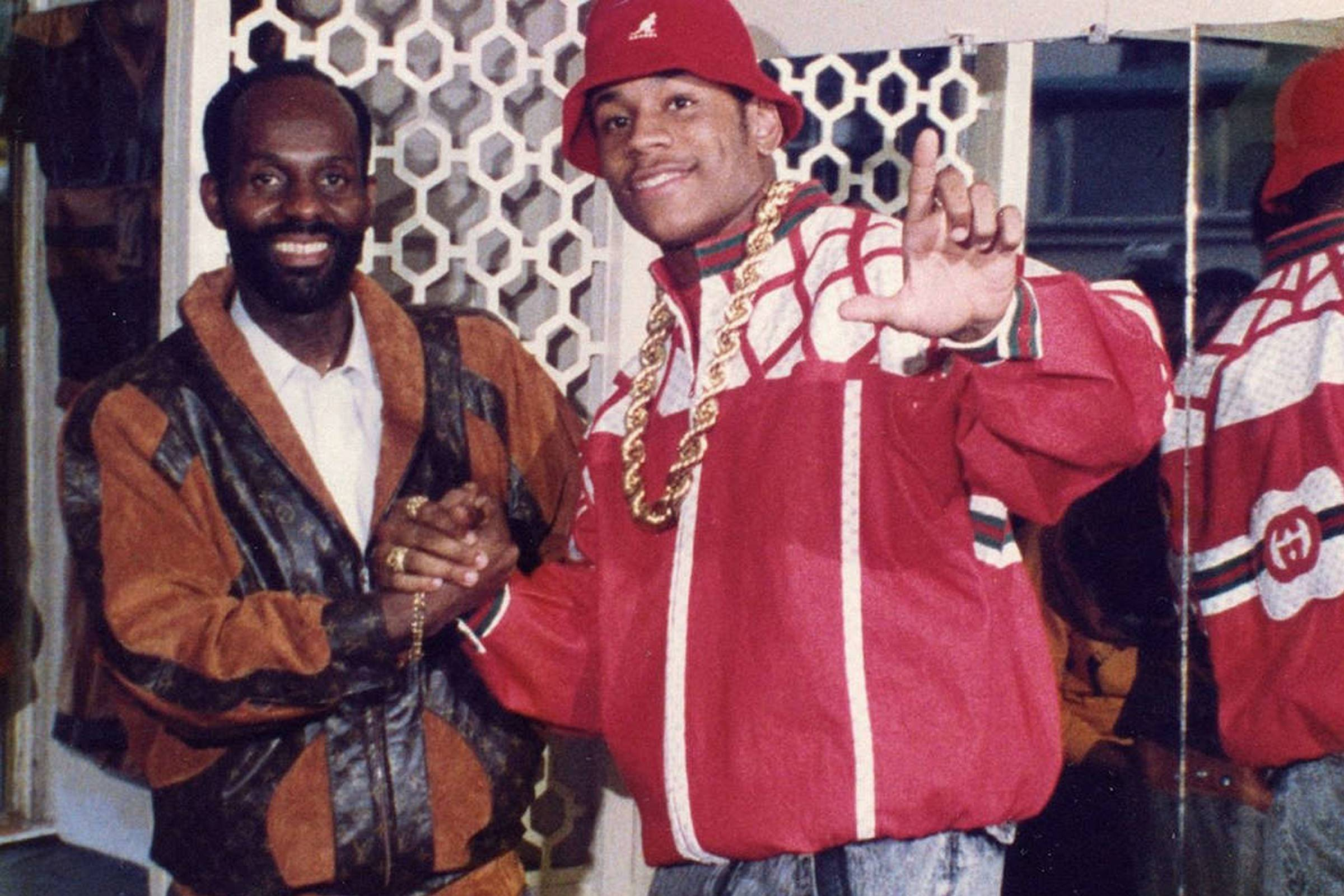 Dapper Dan (left) with LL Cool J in a custom Gucci jacket in 1986