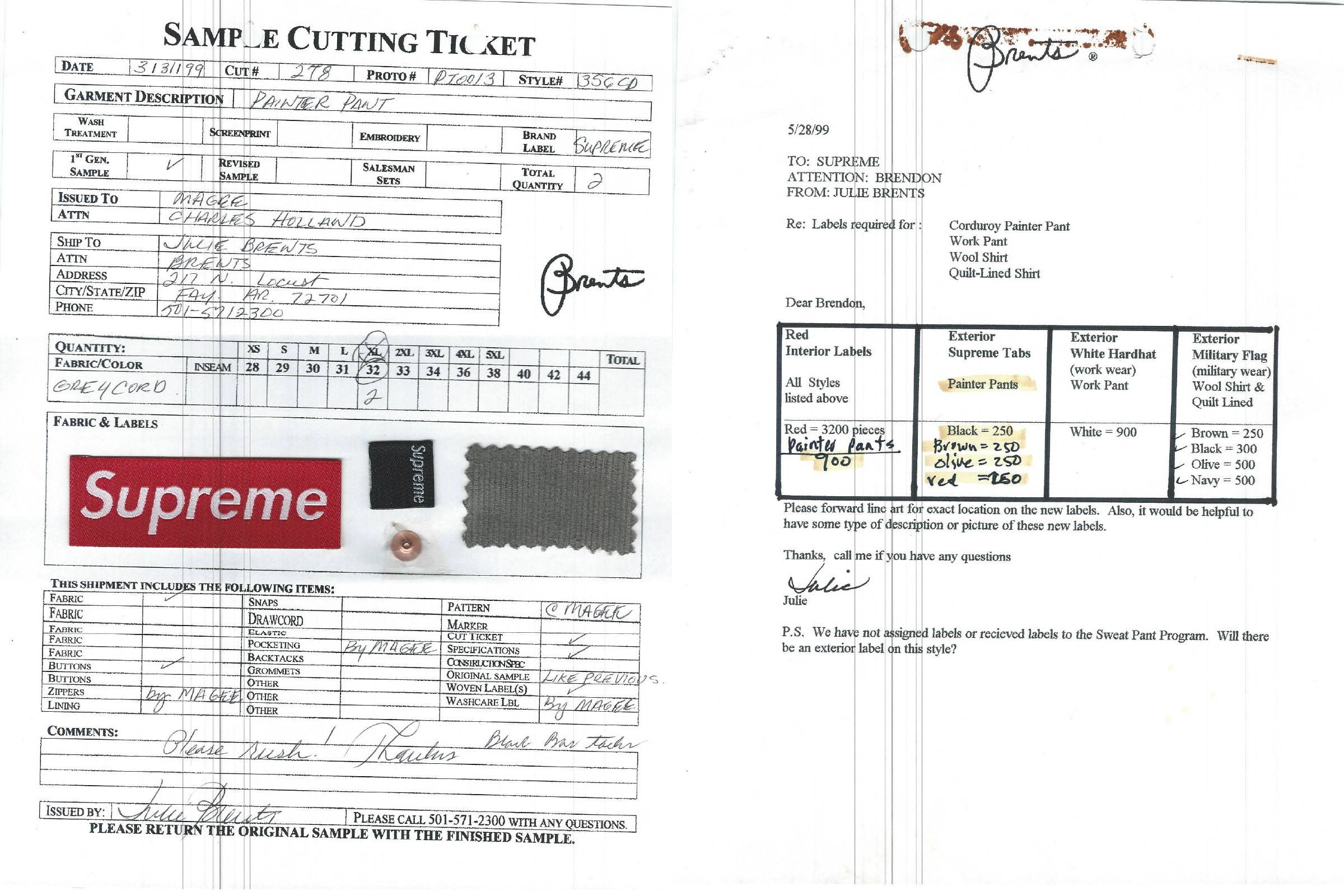 Sample cutting ticket for Supreme painter pants (left); Production correspondence between Brents and Supreme
