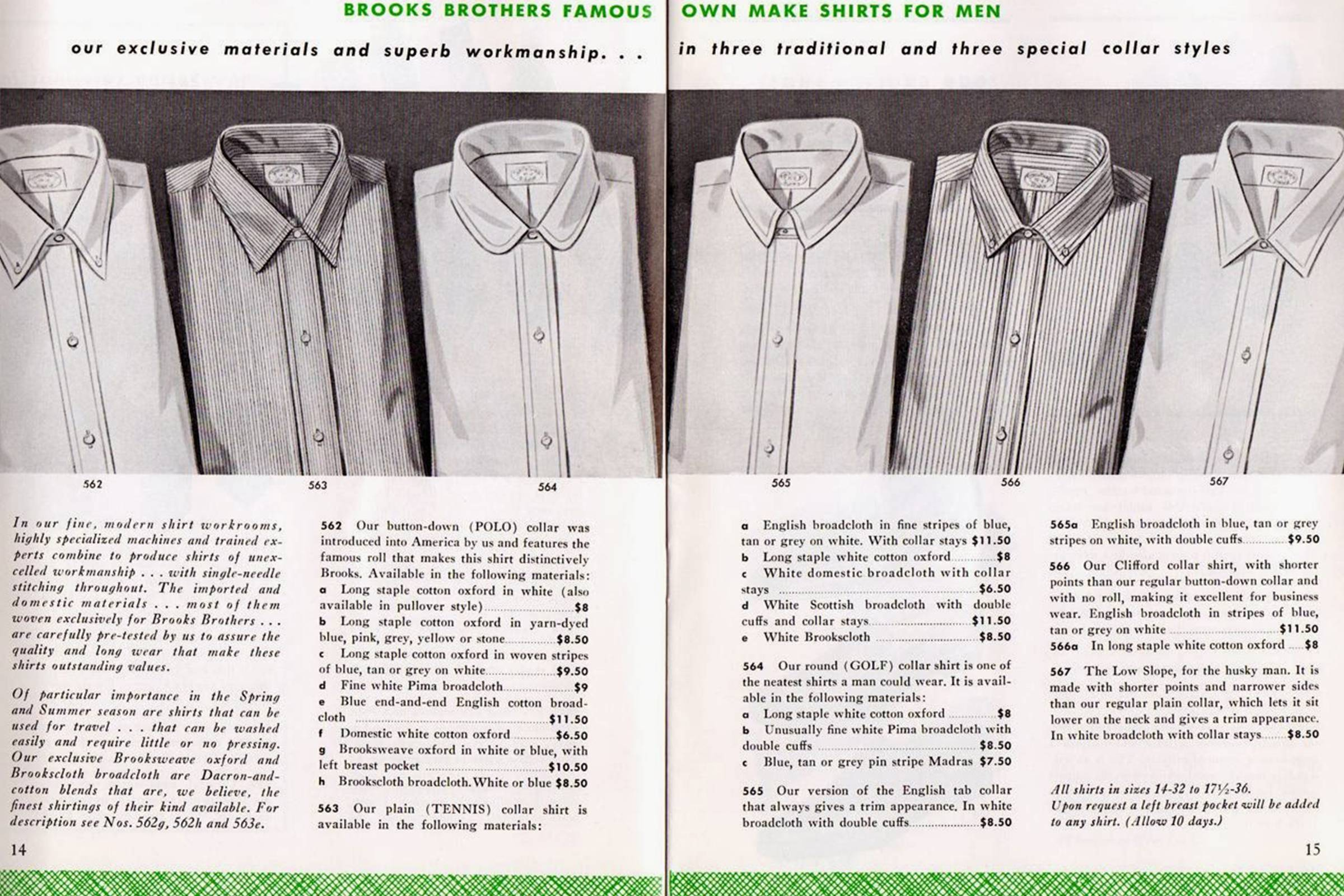 A selection of Brooks Brothers Oxford shirts