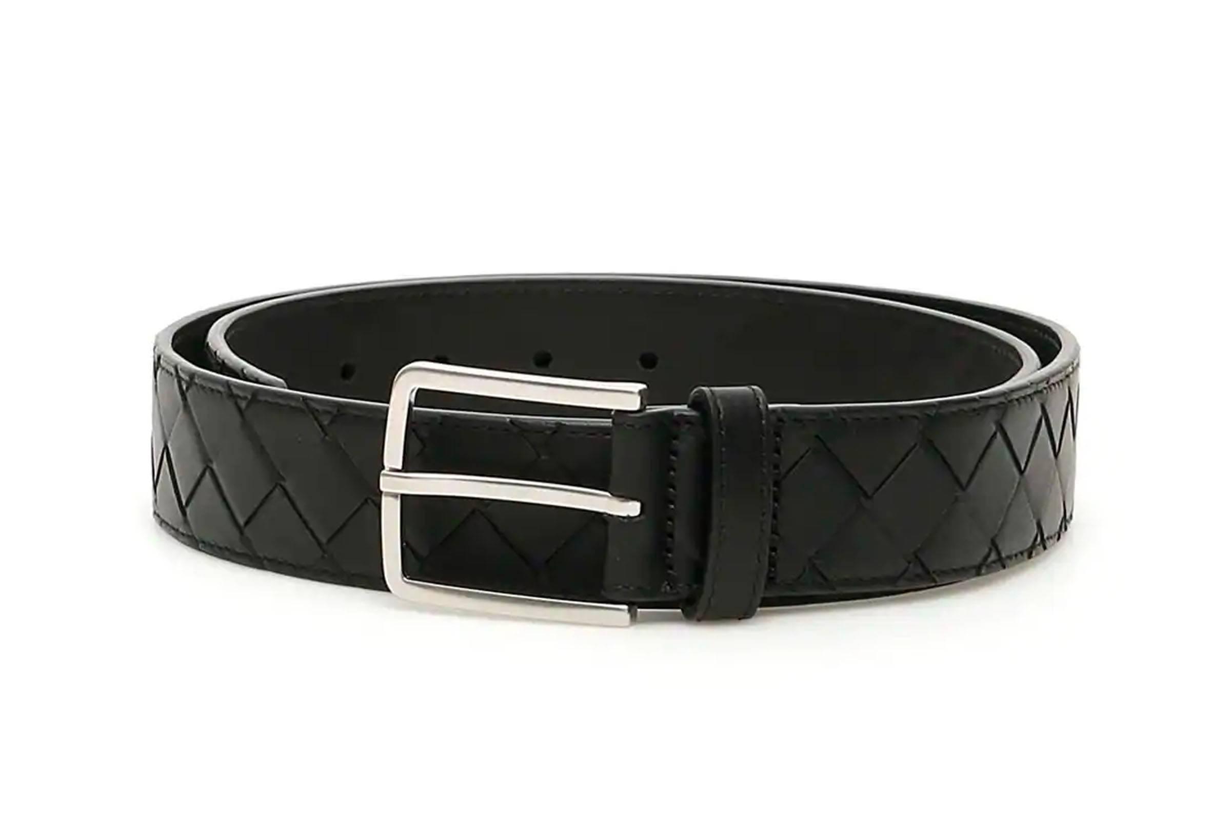 Bottega Veneta Black Intrecciato Belt