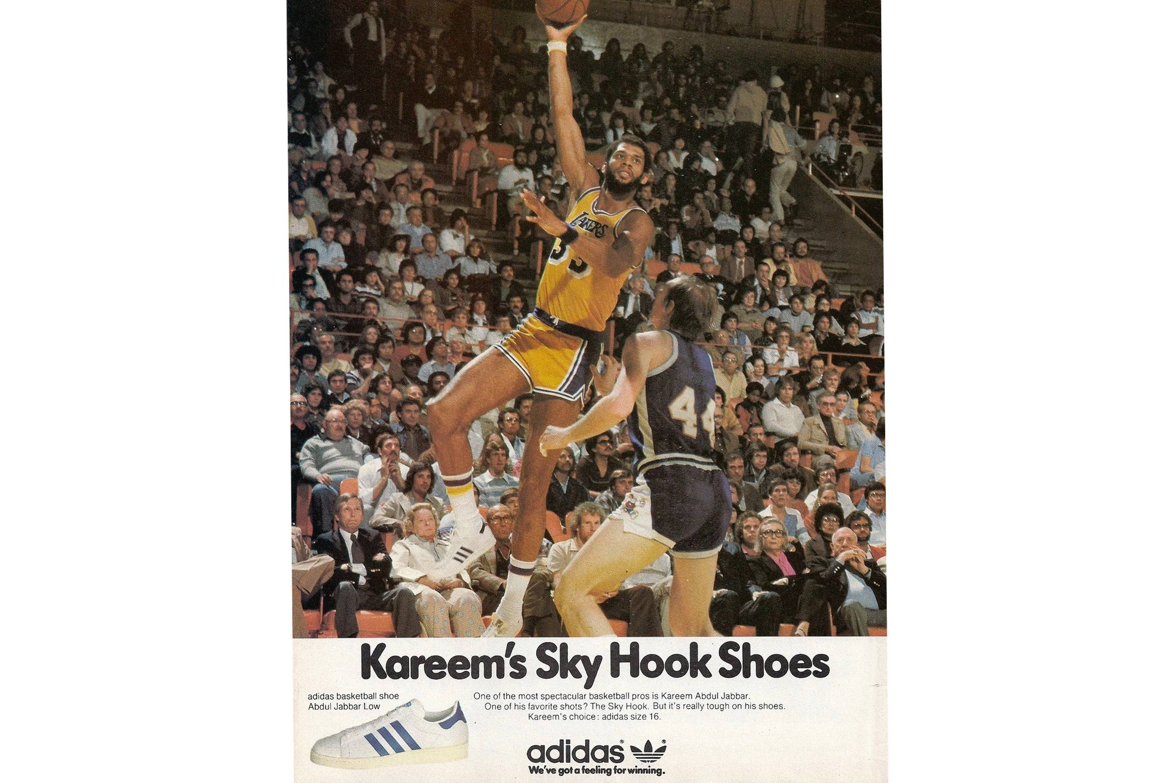 An of-the-era ad for the adidas Superstar, featuring Kareem Abdul-Jabbar