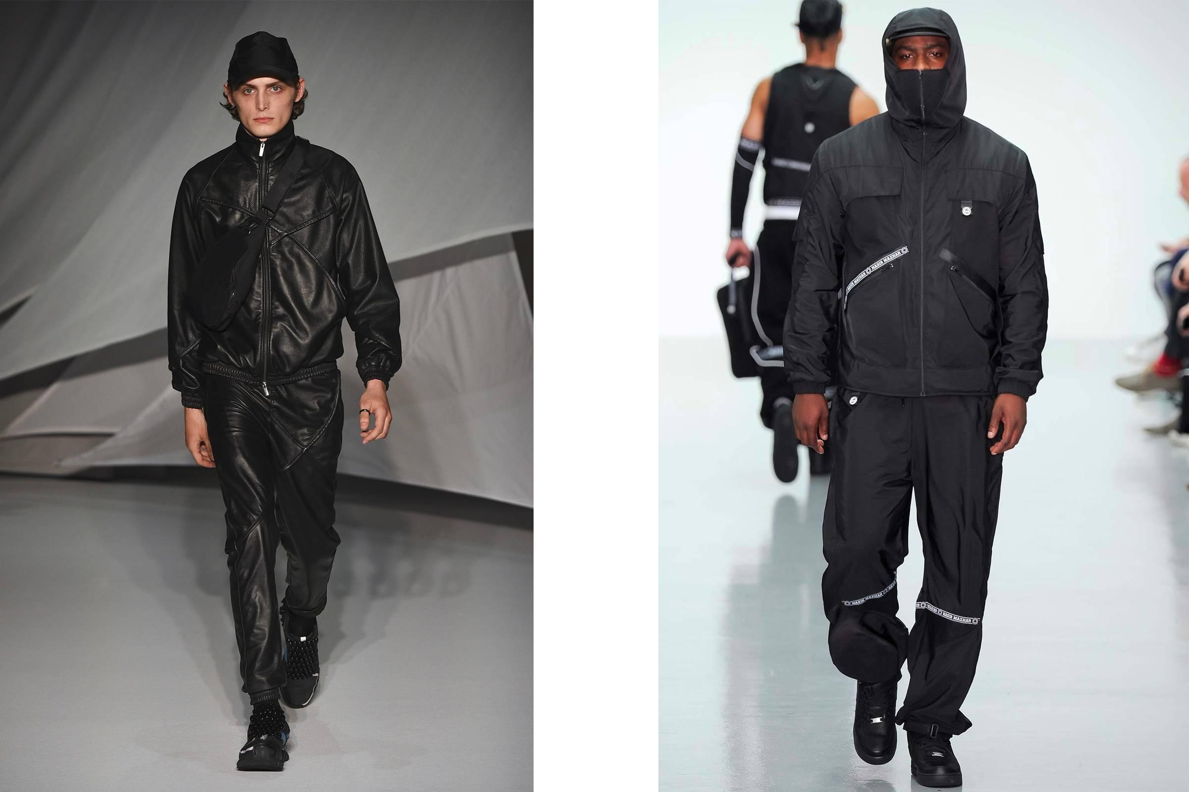 Looks from Cottweiler Spring/Summer 2019 (left) and Nasir Mazhar Spring/Summer 2015 (with Skepta modeling)