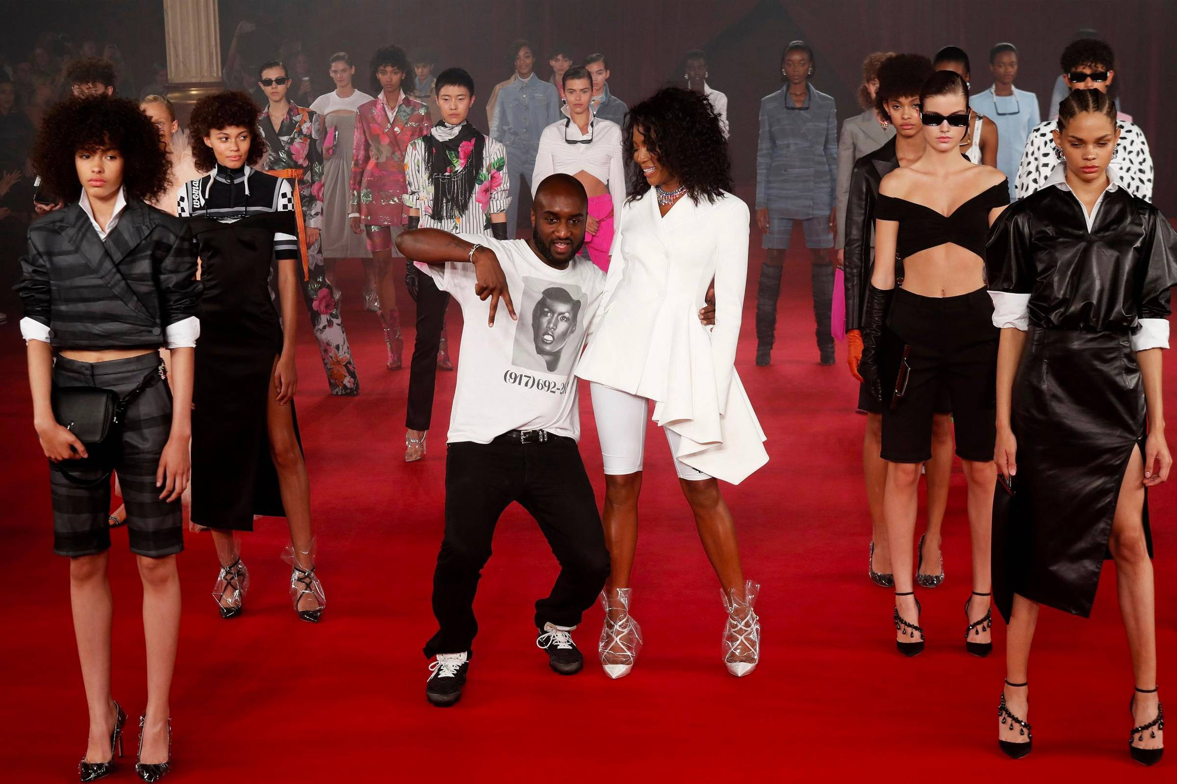 Virgil Abloh with Naomi Campbell during the finale of Off-White's Spring/Summer 2018 womenswear show