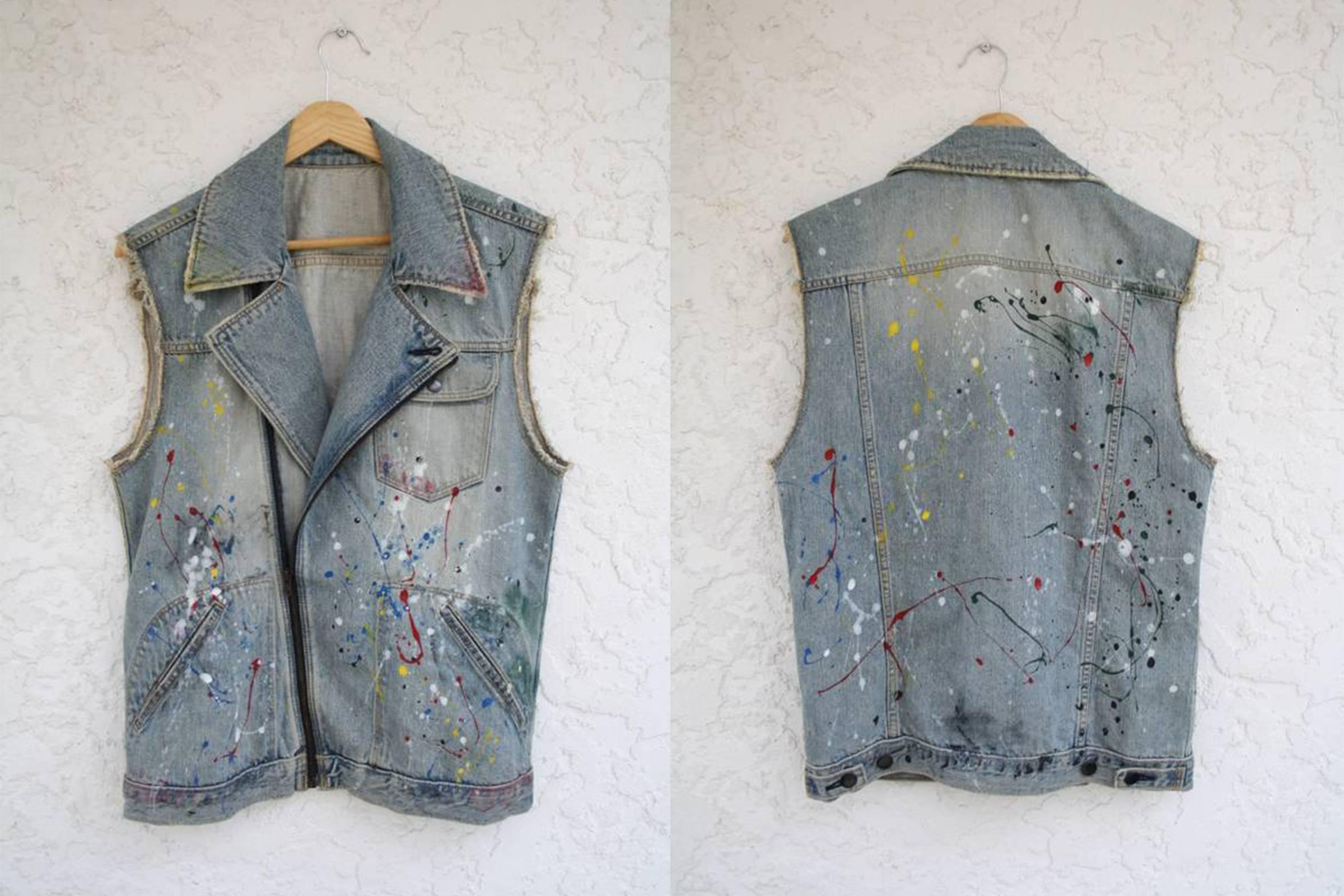 Number (N)ine Paint Splatter Denim Sleeveless Perfecto, from the wardrobe of Levi Verschuur