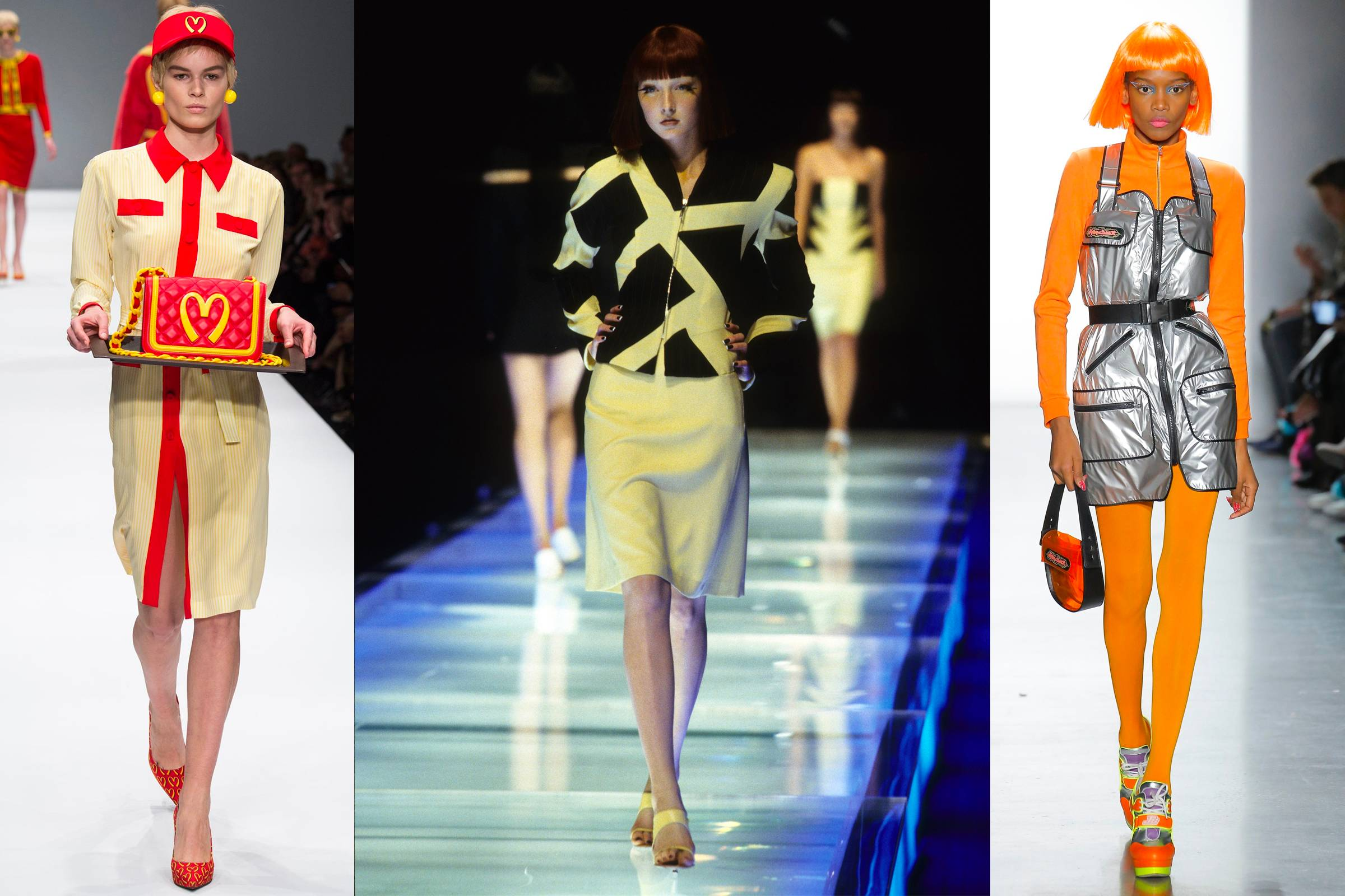 (from left to right) Moschino Fall/Winter 2014, Alexander McQueen Spring/Summer 1998, Jeremy Scott Fall/Winter 2018