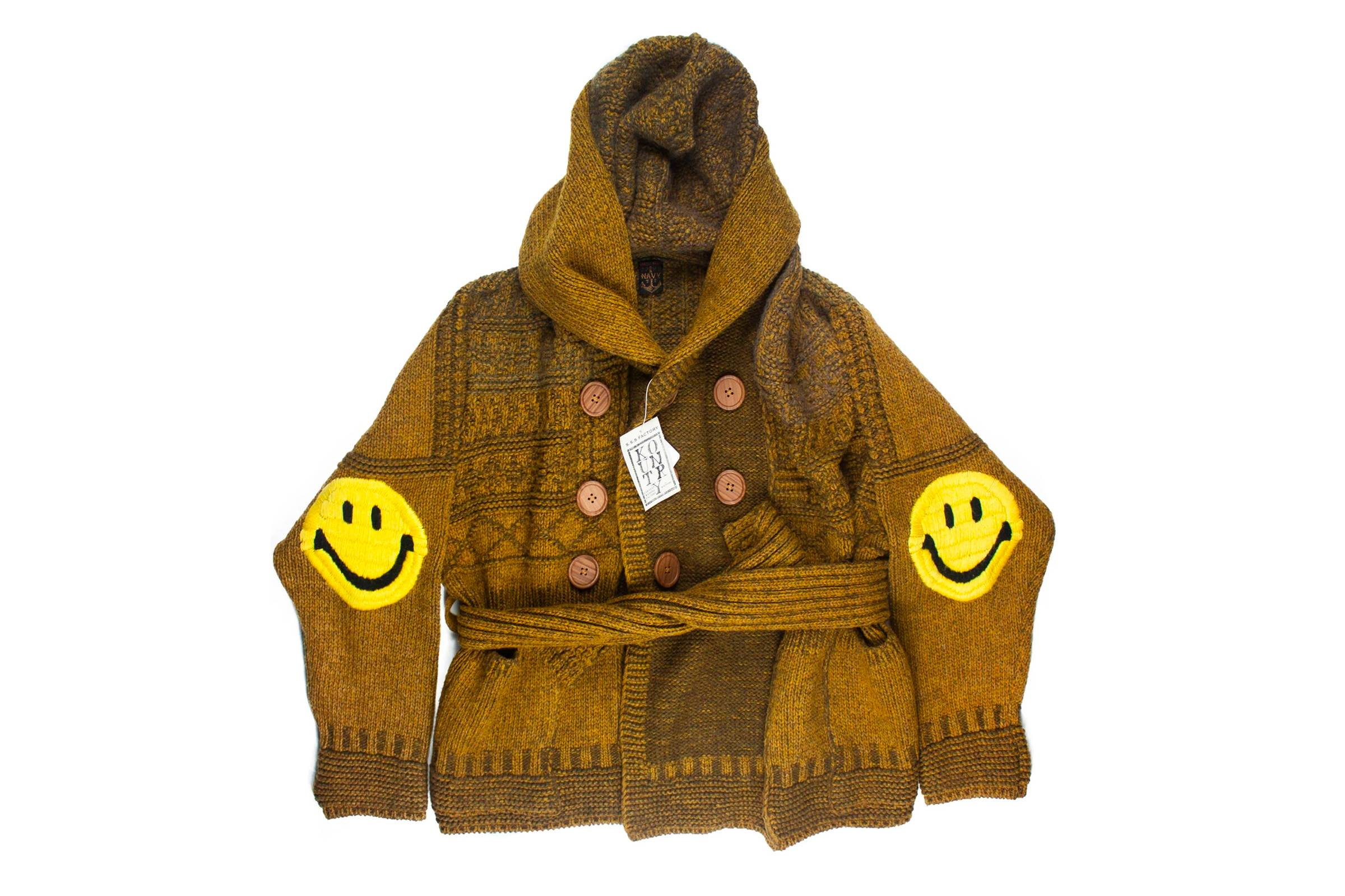 Kapital Ring Coat (with the brand's Smiley patch motif)