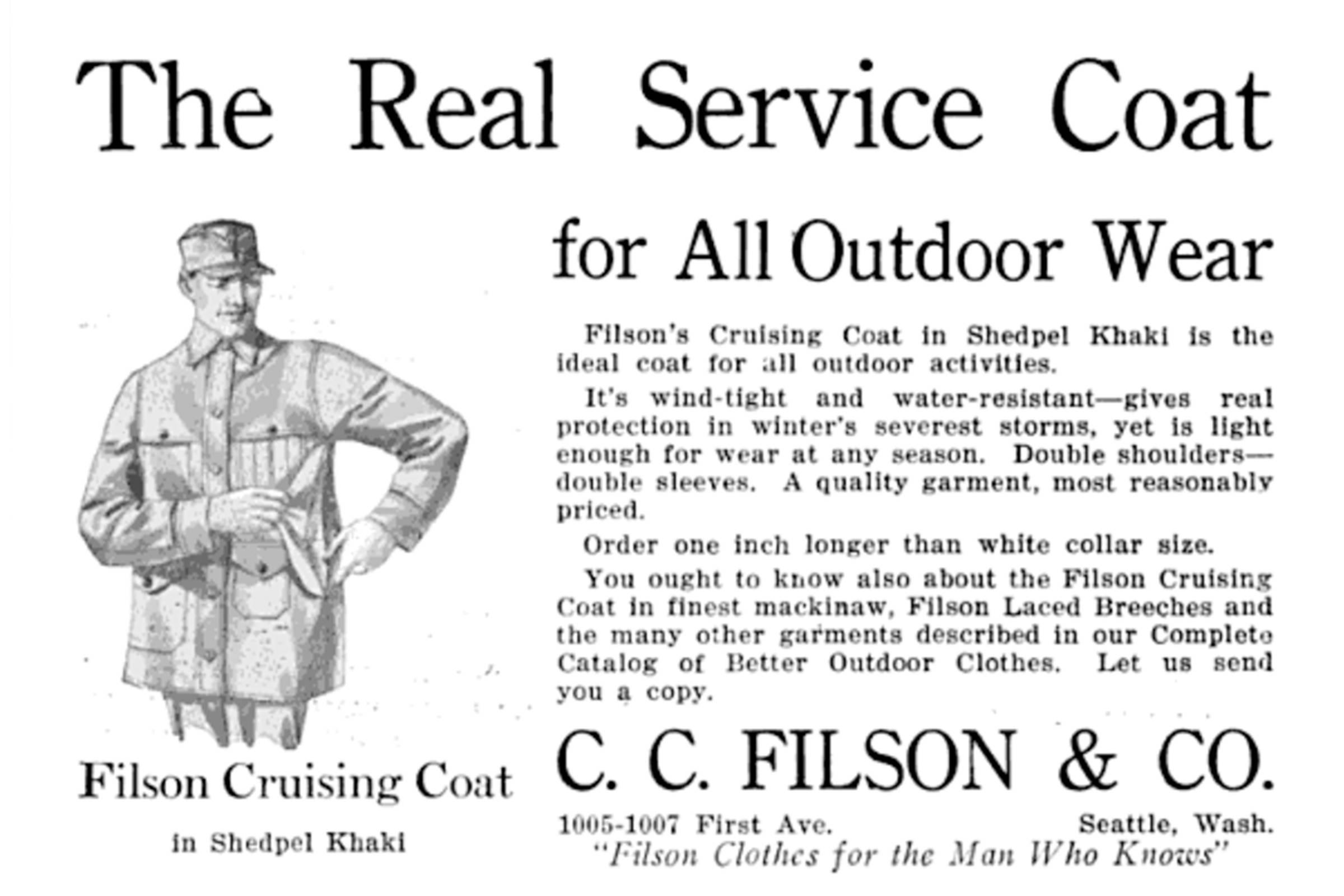 Original advertisement for Filson Cruising Coat, c. 1915