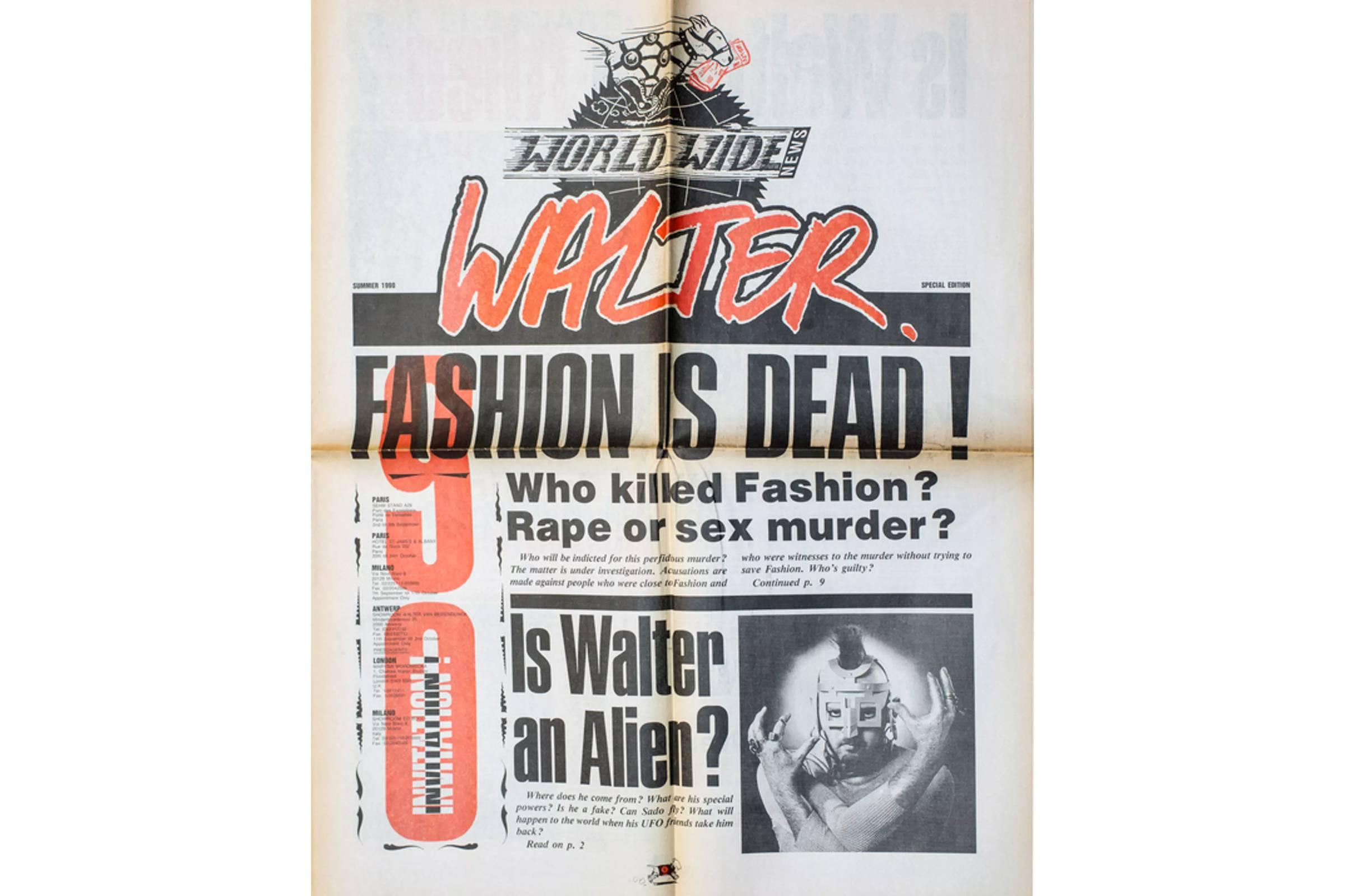 "Walter Wordwide News ""Fashion Is Dead"" mock newspaper/Spring/Summer 1990 runway show invite"