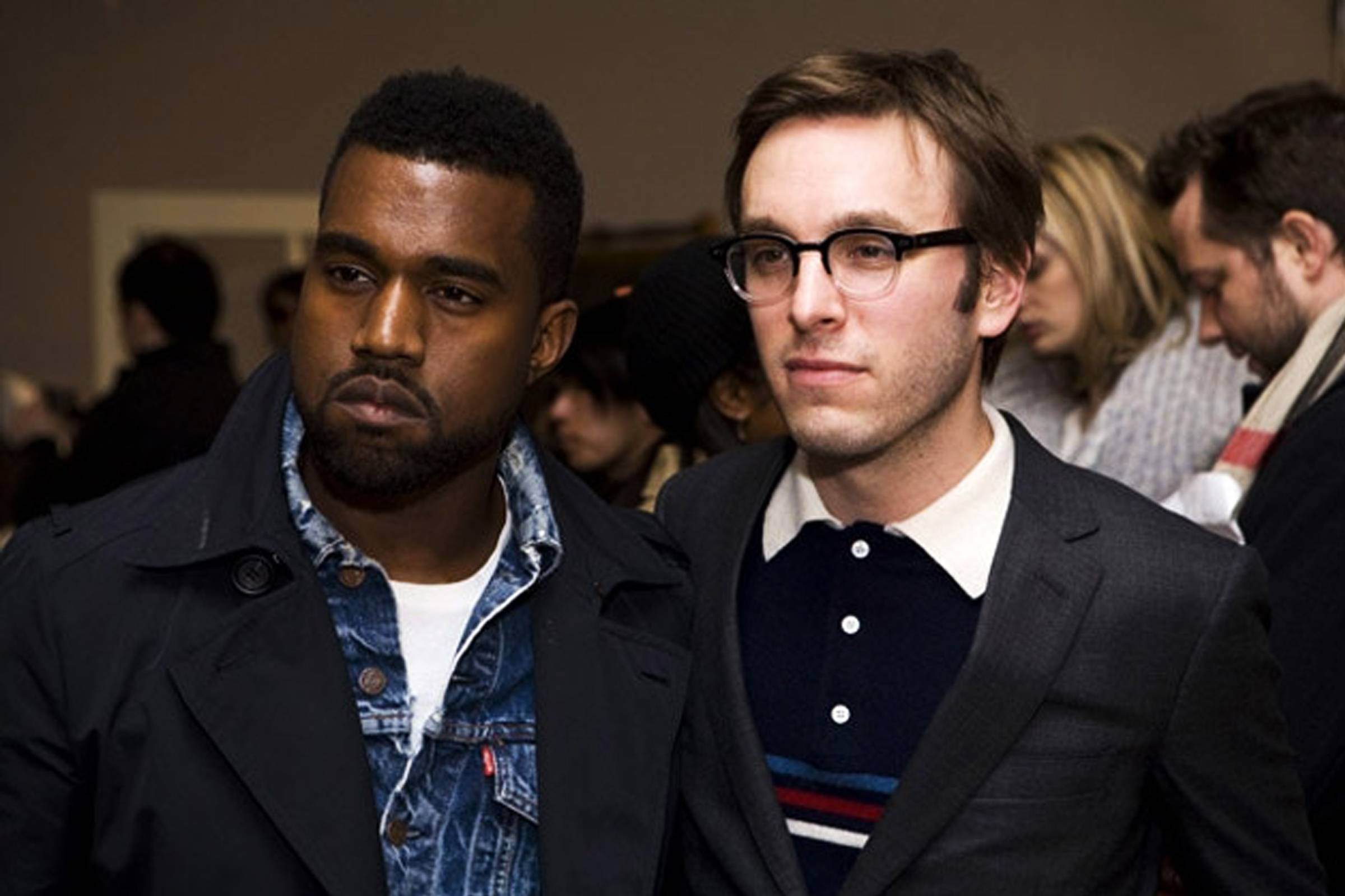 Kanye West and Scott Sternberg at Band of Outsiders' Fall/Winter 2009 runway show