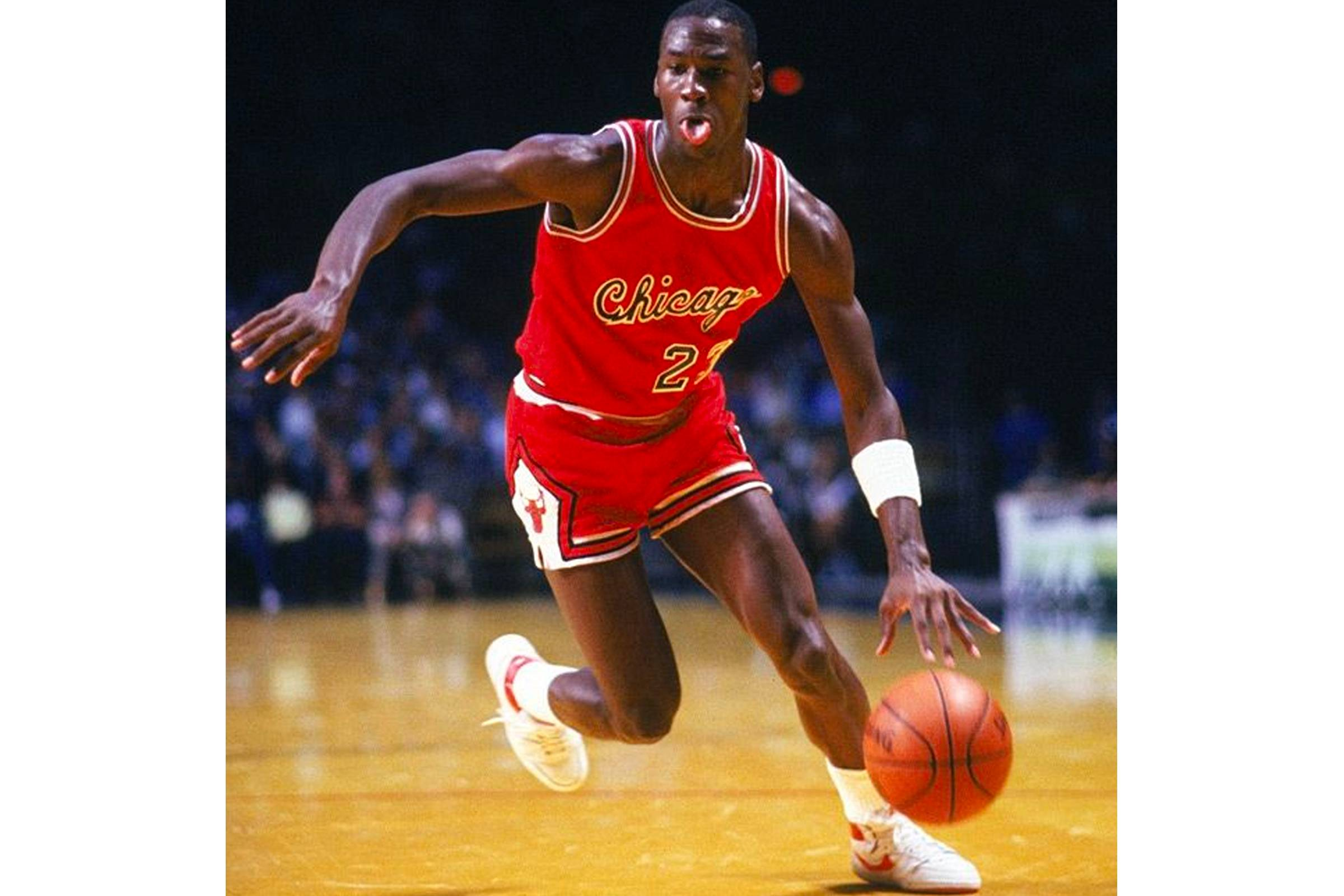 Michael Jordan playing in the Nike Air Ship