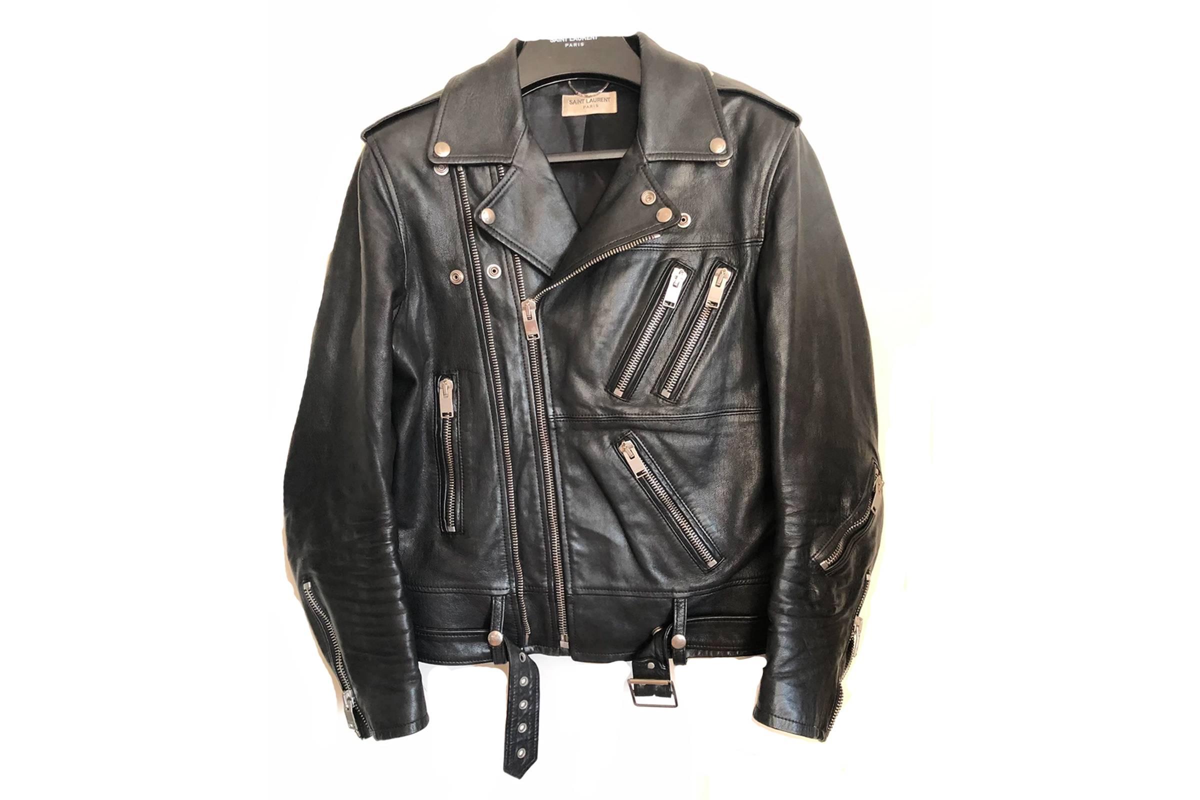 """Saint Laurent Paris Double Zip """"Chromeo"""" Leather Rider Jacket"""