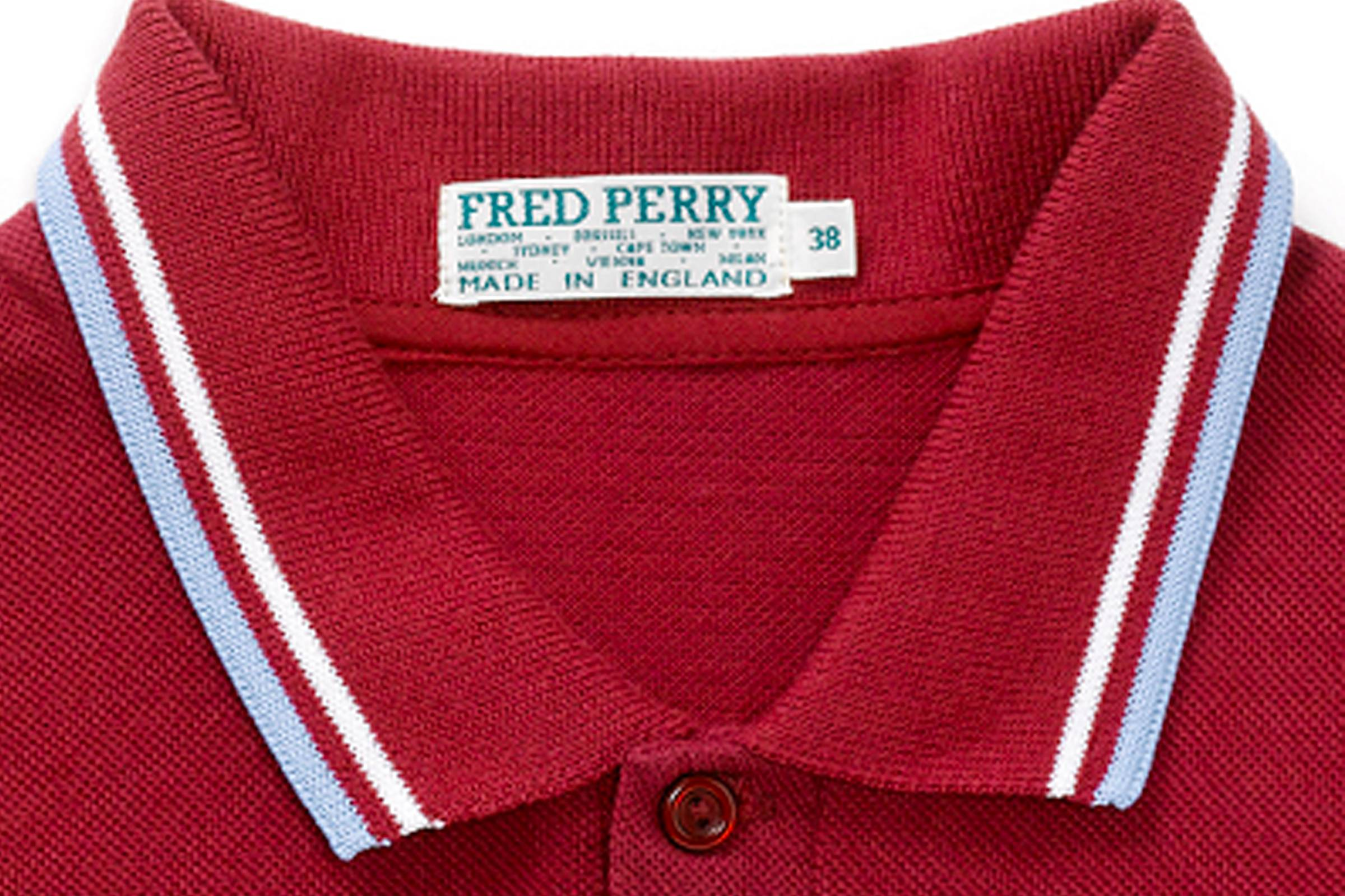 A Fred Perry polo in West Ham's colors of claret and blue